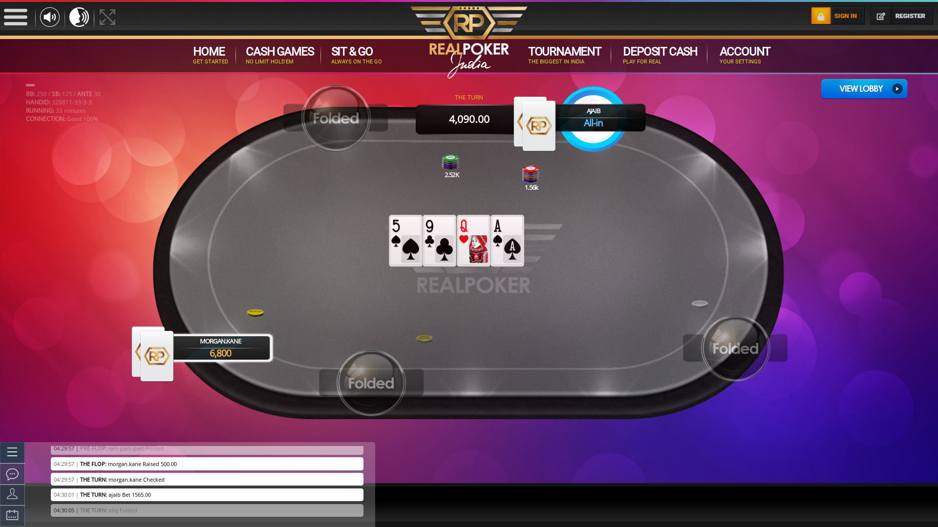Indian online poker on a 10 player table in the 33rd minute match up