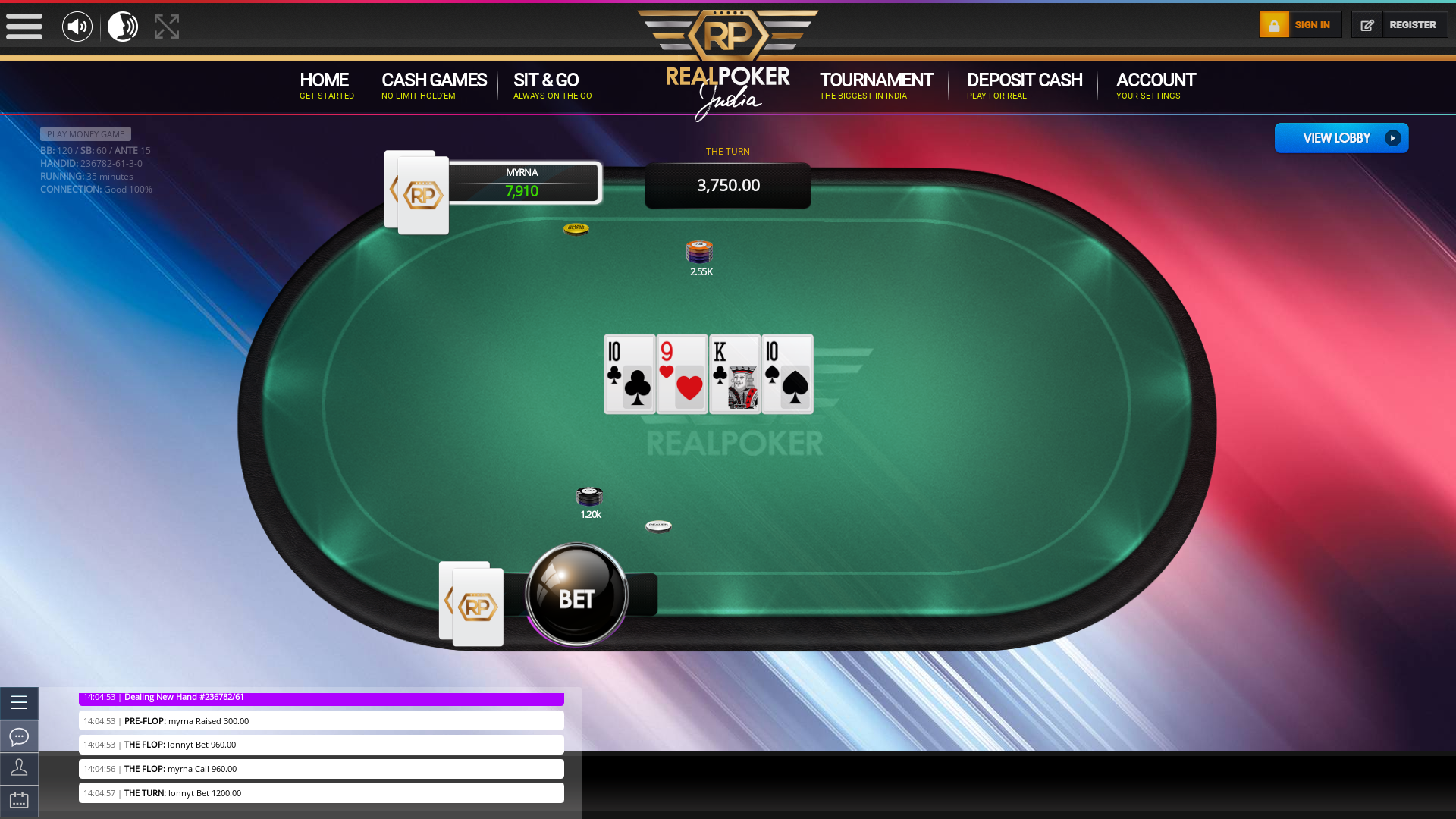 Indian online poker on a 10 player table in the 35th minute match up
