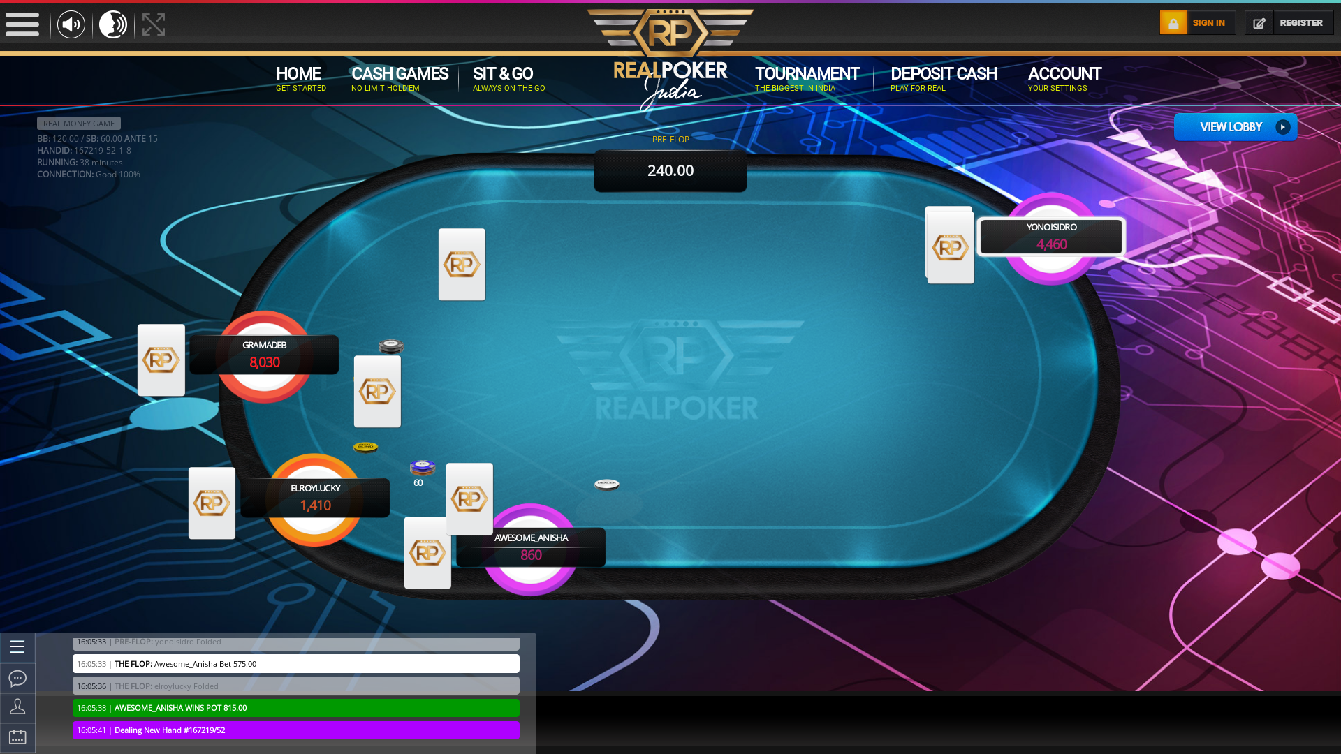 Indian online poker on a 10 player table in the 37th minute match up