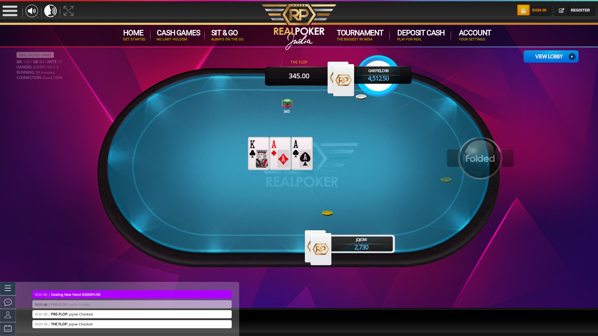 Indian online poker on a 10 player table in the 38th minute match up