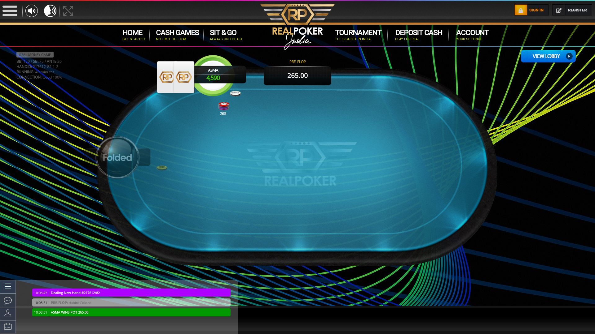 Indian online poker on a 10 player table in the 40th minute match up