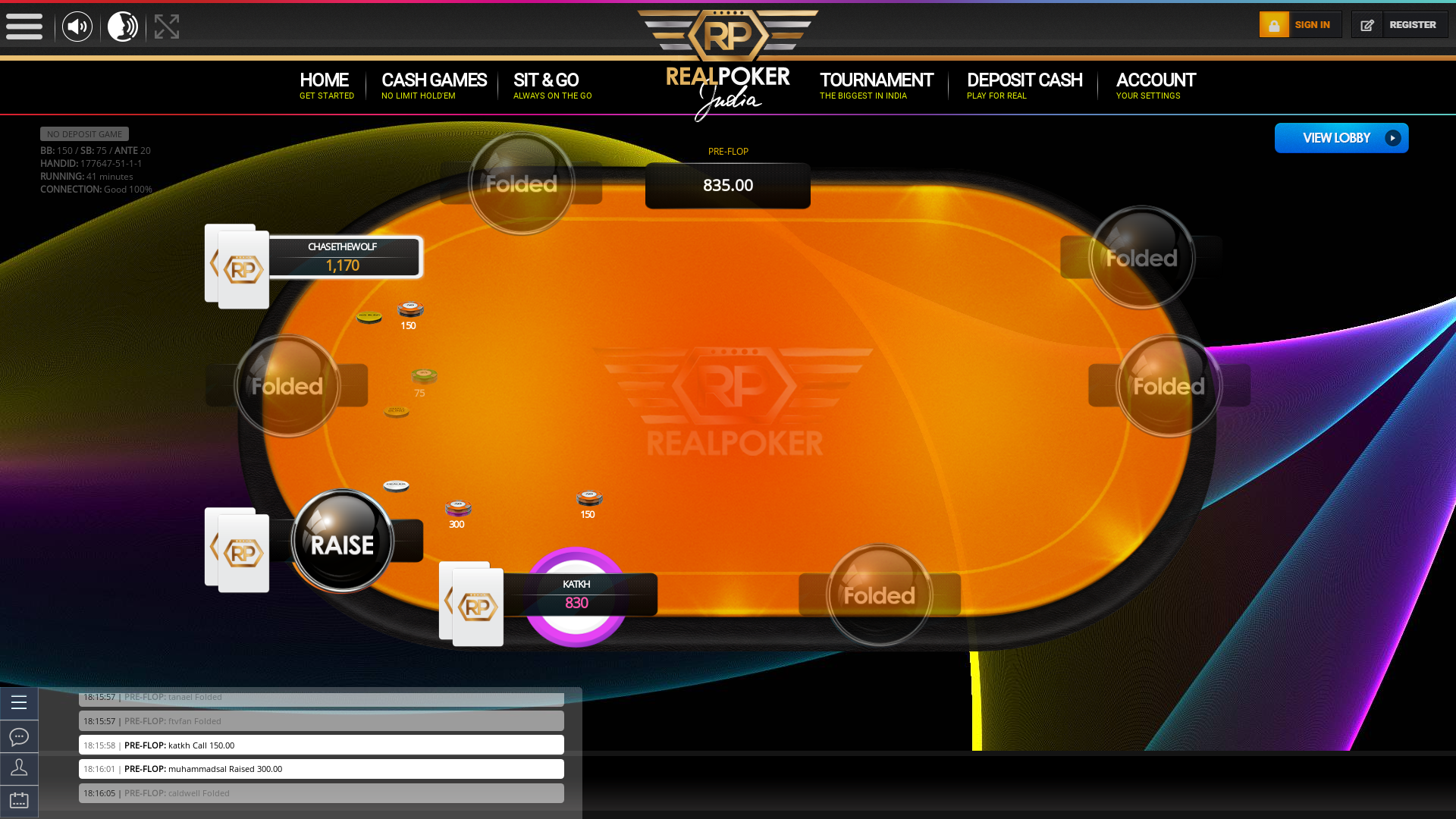 Indian online poker on a 10 player table in the 41st minute match up