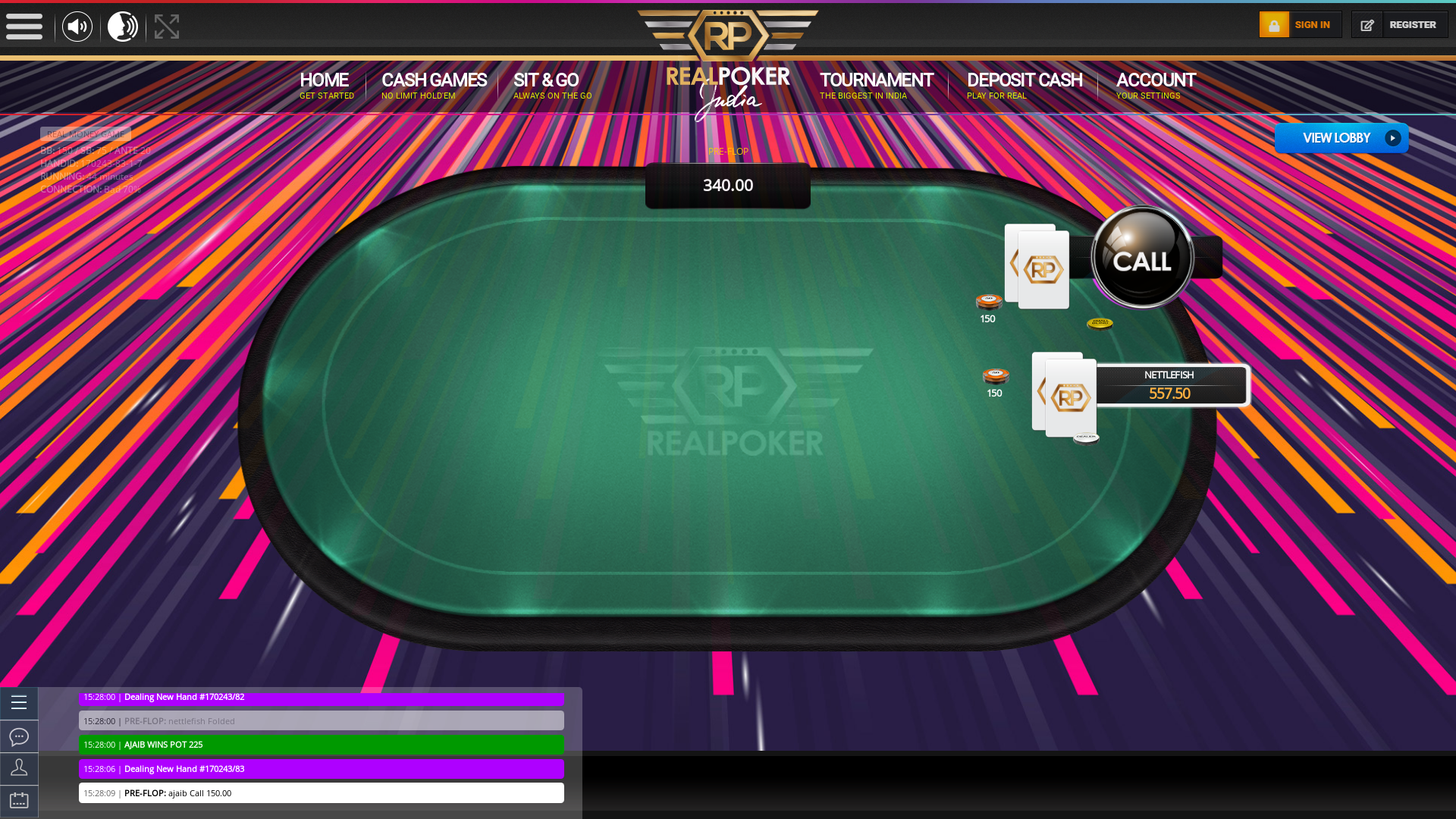 Indian online poker on a 10 player table in the 43rd minute match up