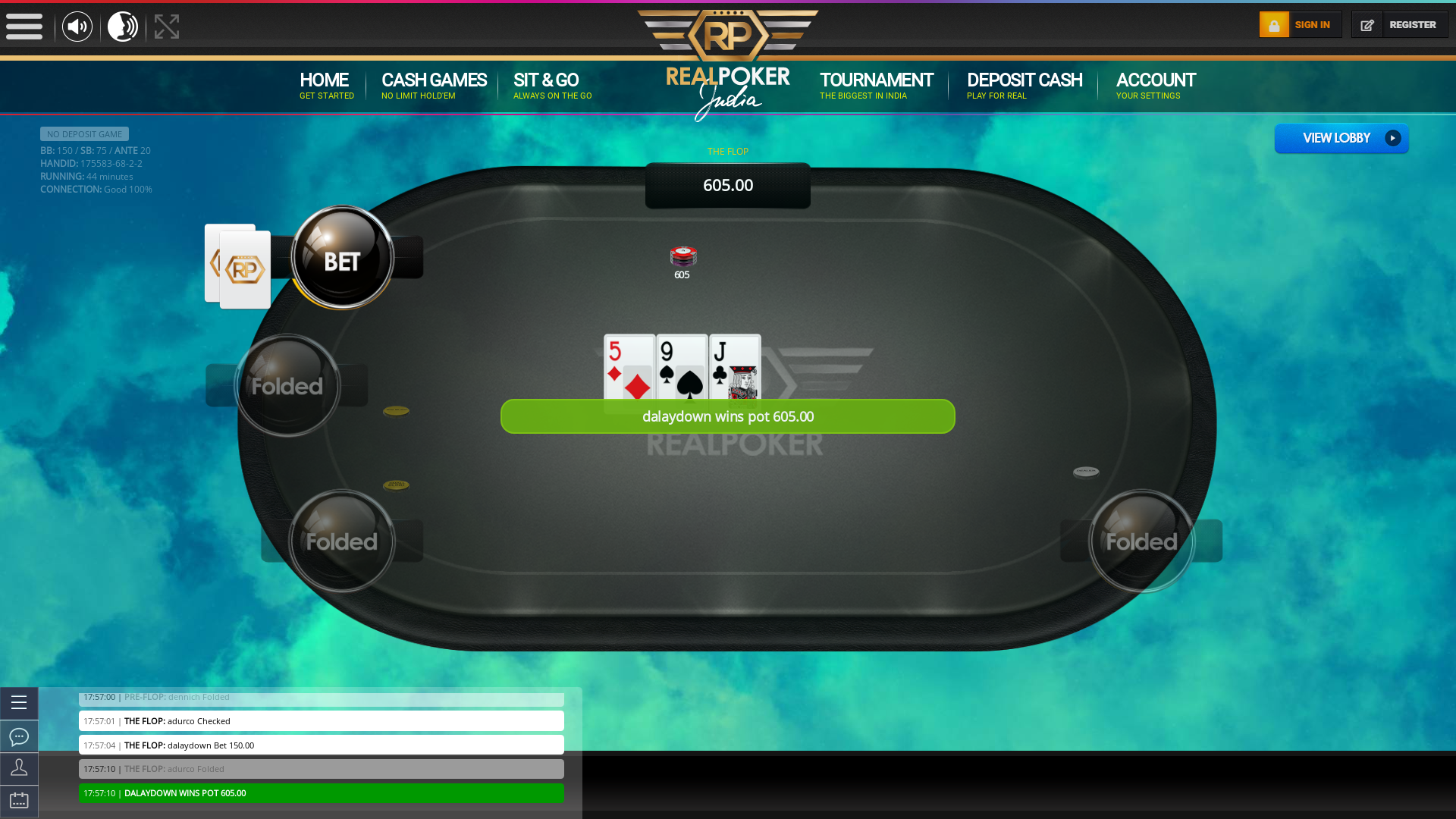 Indian online poker on a 10 player table in the 44th minute match up