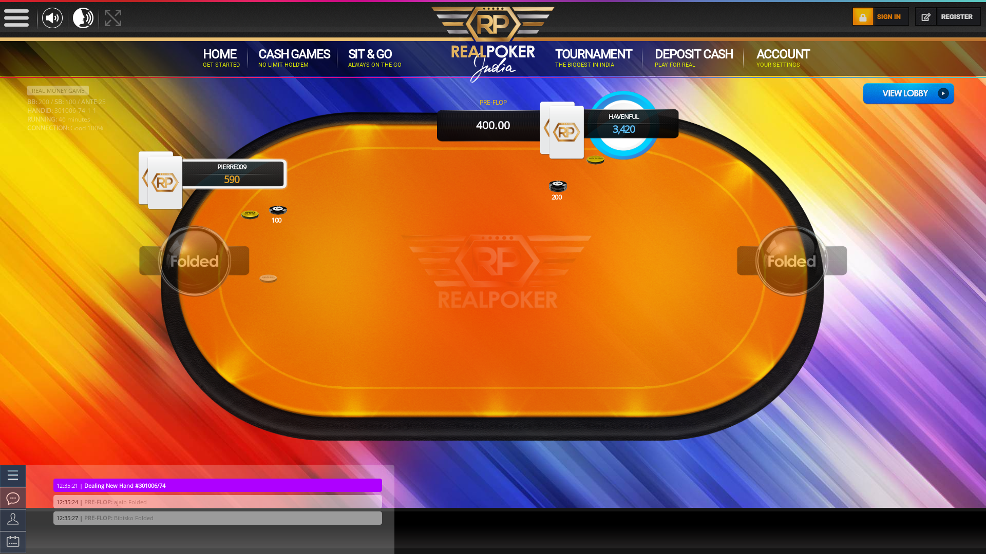Indian online poker on a 10 player table in the 46th minute match up