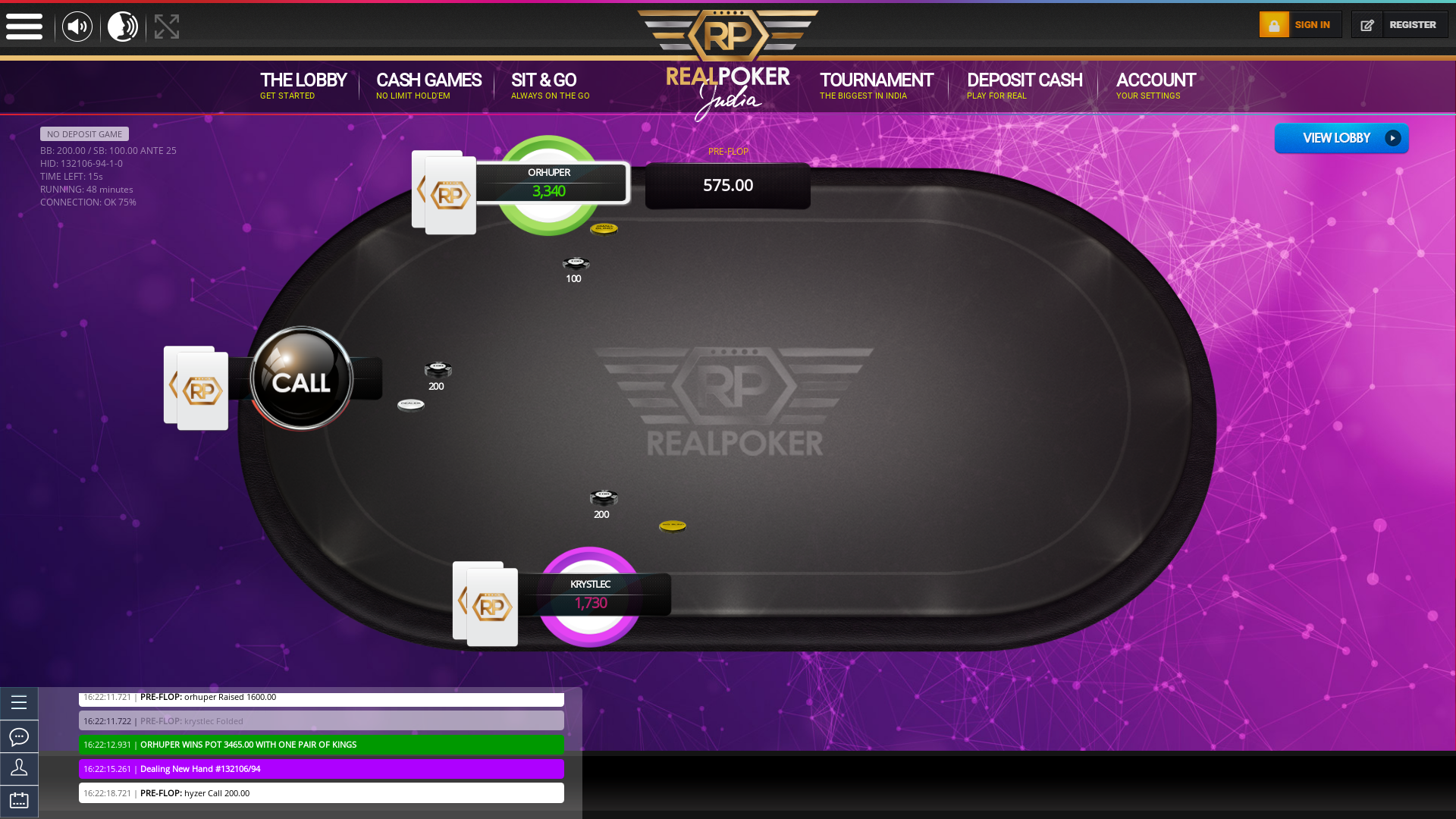 Indian online poker on a 10 player table in the 48th minute match up