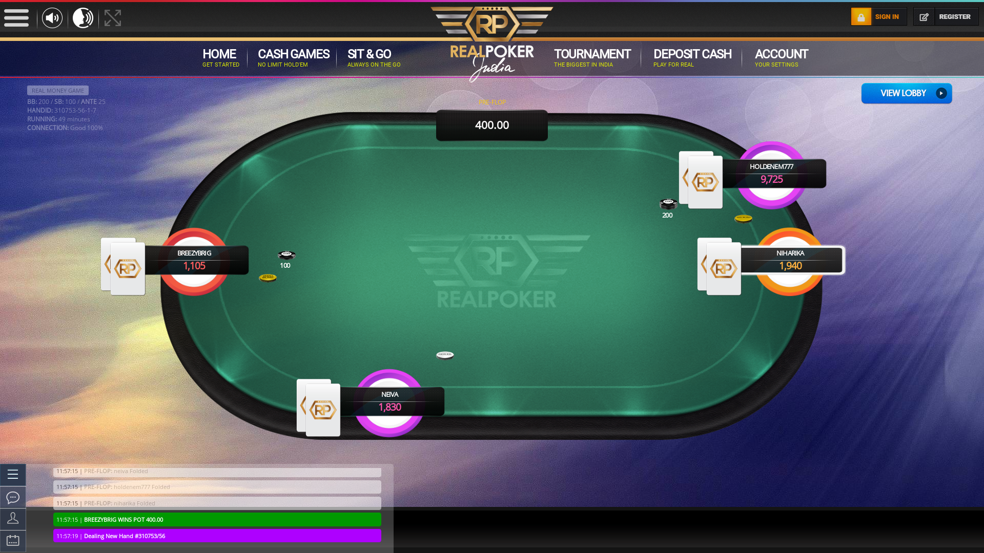 Indian online poker on a 10 player table in the 49th minute match up