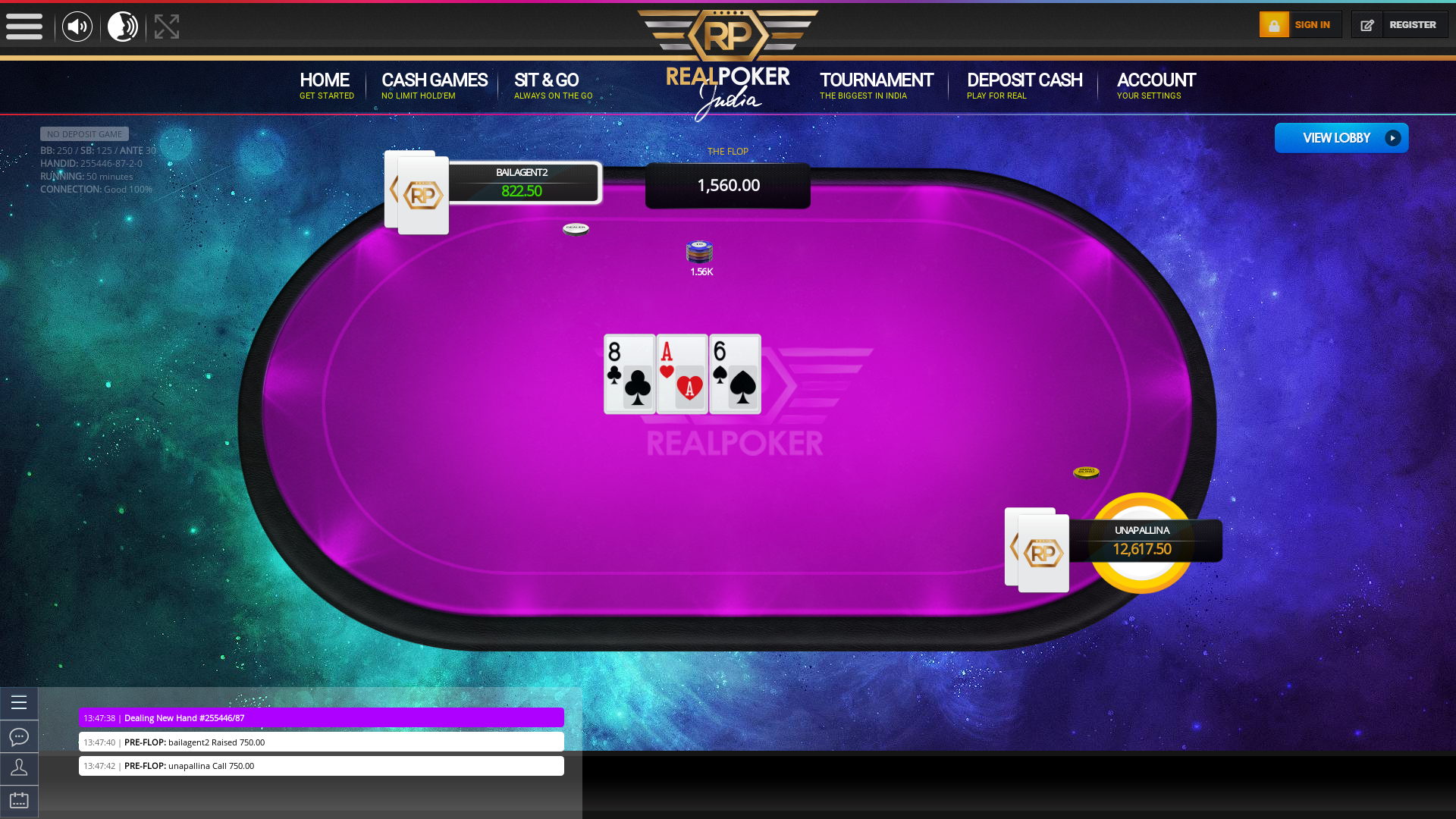 Indian online poker on a 10 player table in the 50th minute match up