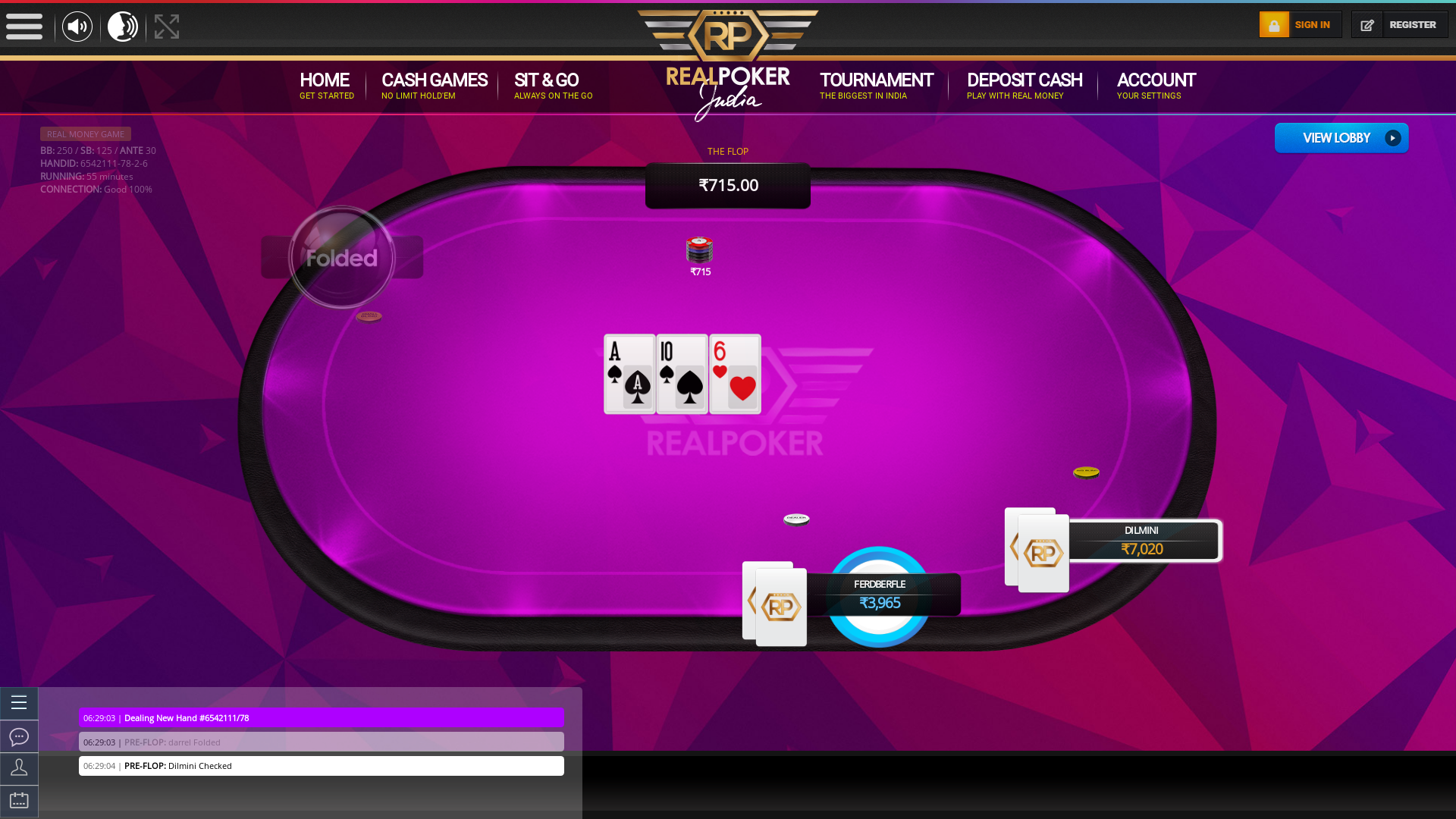 indian online poker on a 10 player table in the 55th minute match up