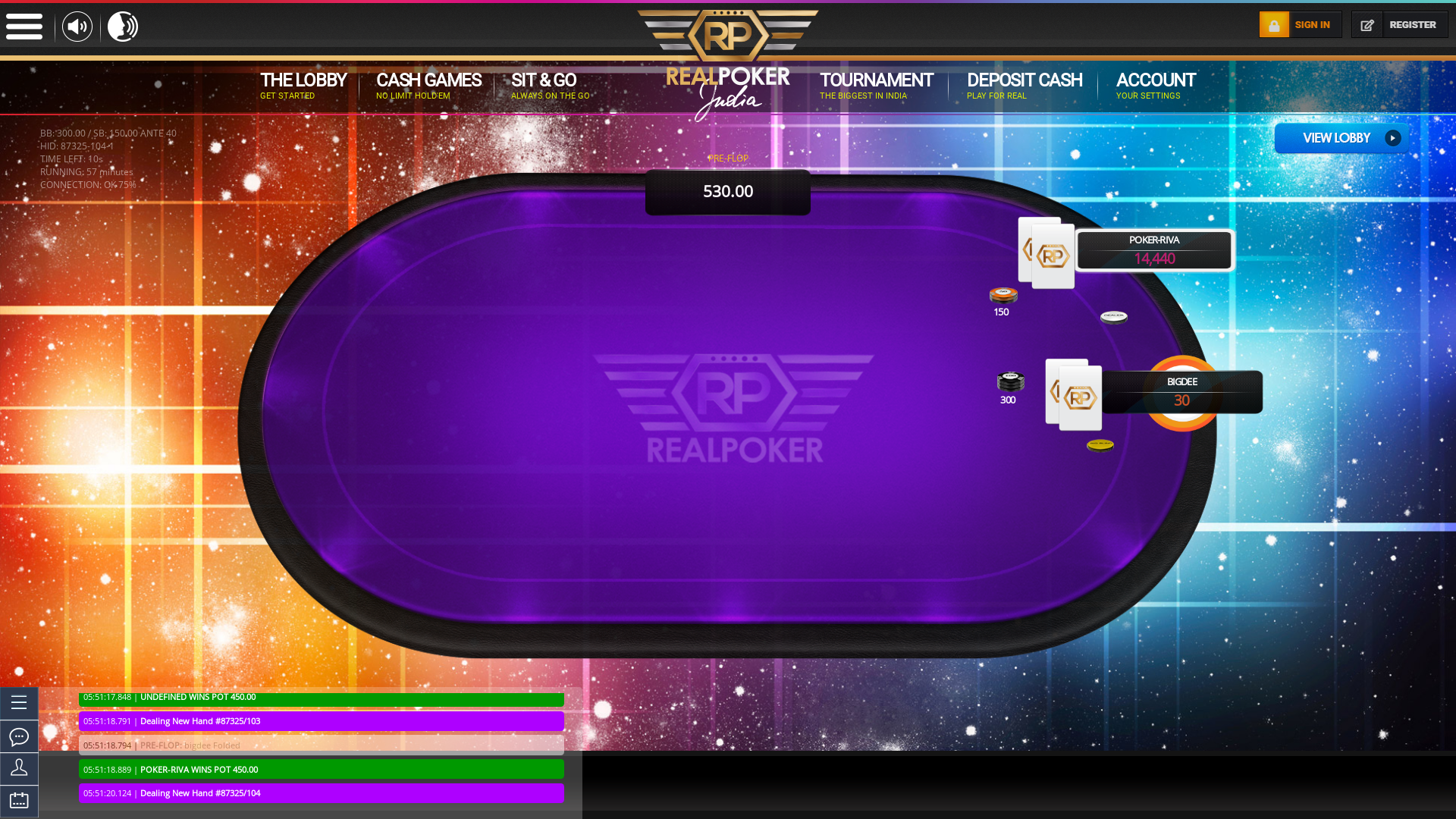 Indian online poker on a 10 player table in the 57th minute match up