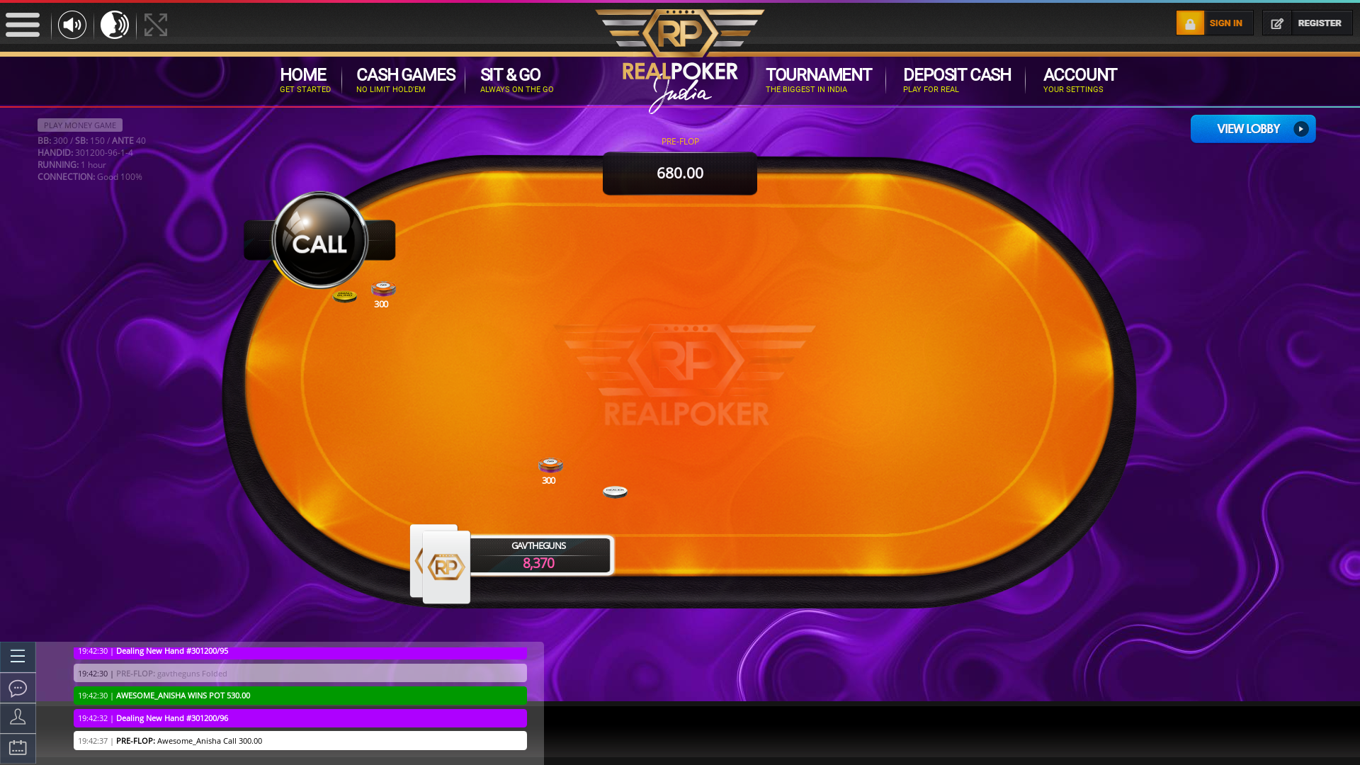 Indian online poker on a 10 player table in the 59th minute match up