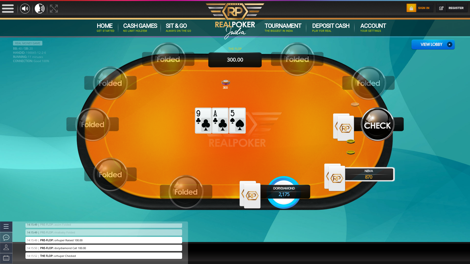 Indian poker on a 10 player table in the 11th minute