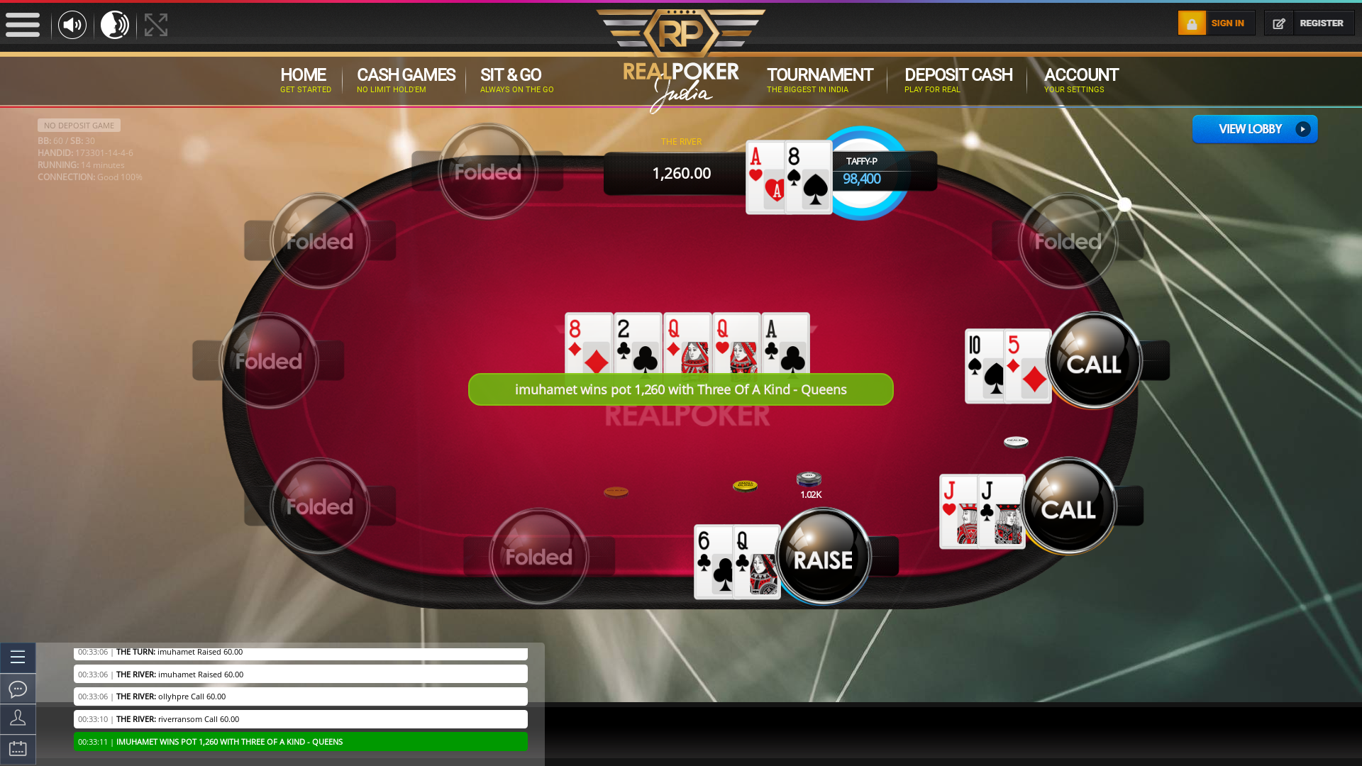 Indian poker on a 10 player table in the 14th minute