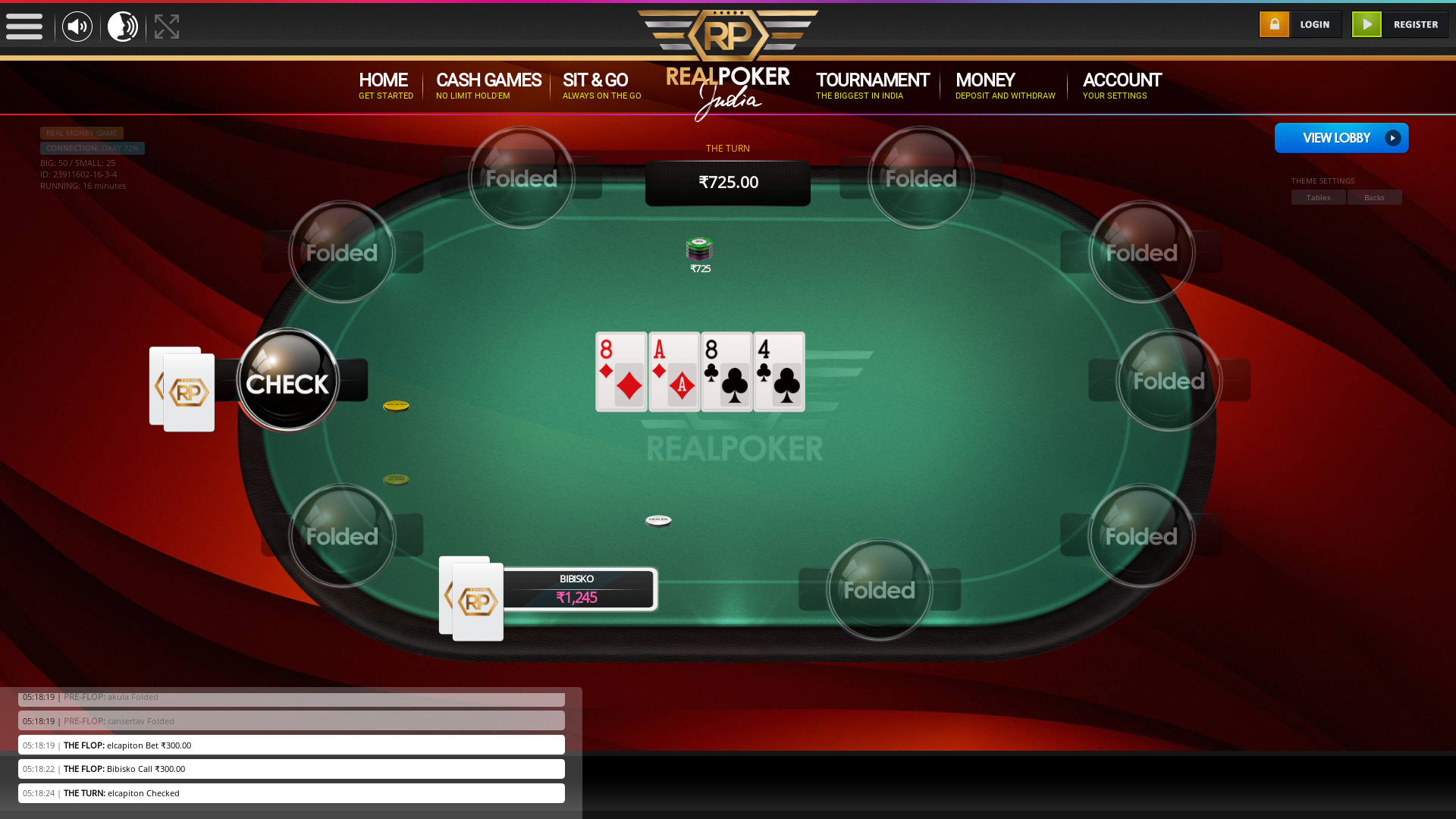 indian poker on a 10 player table in the 16th minute