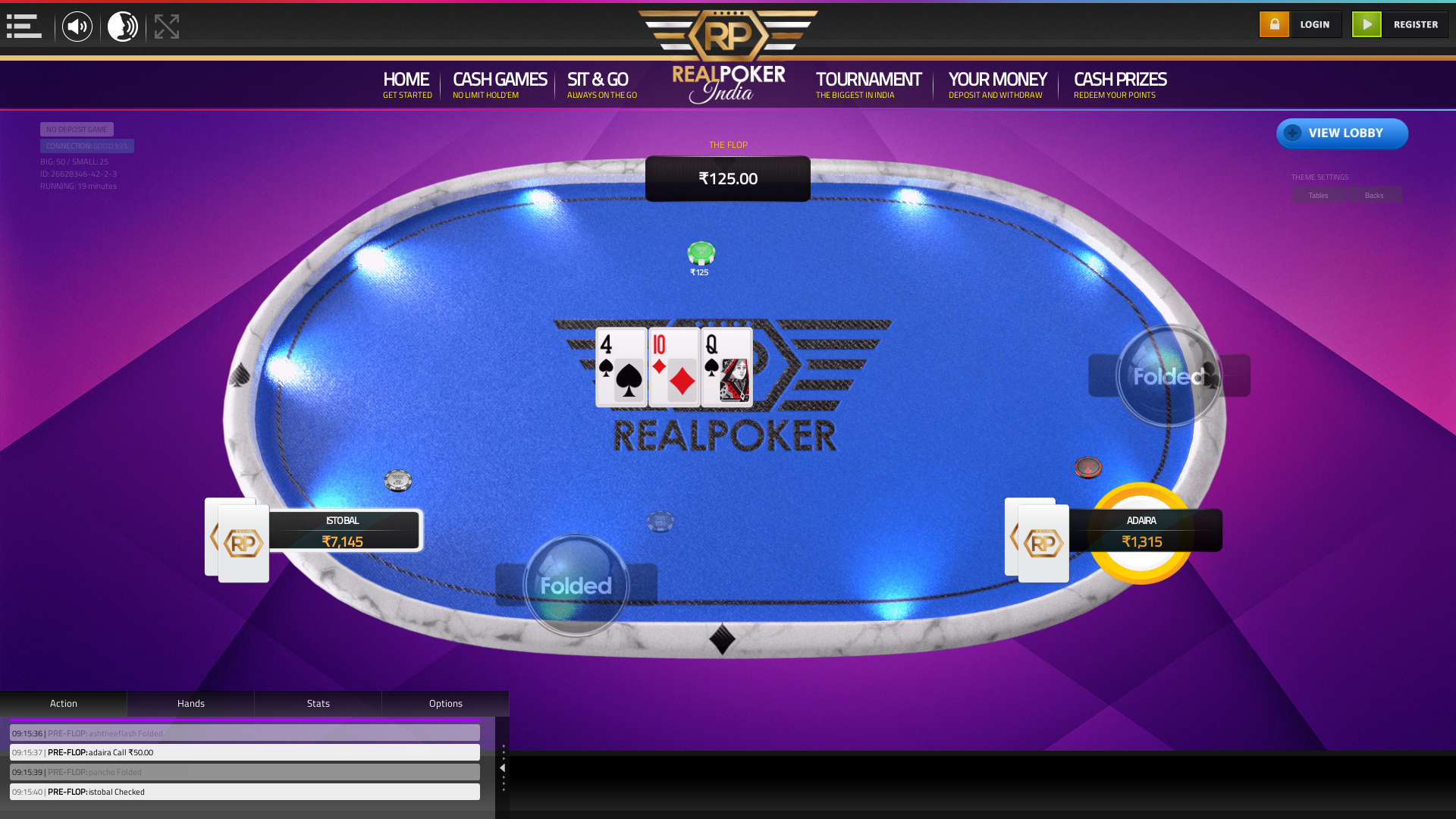 indian poker on a 10 player table in the 19th minute