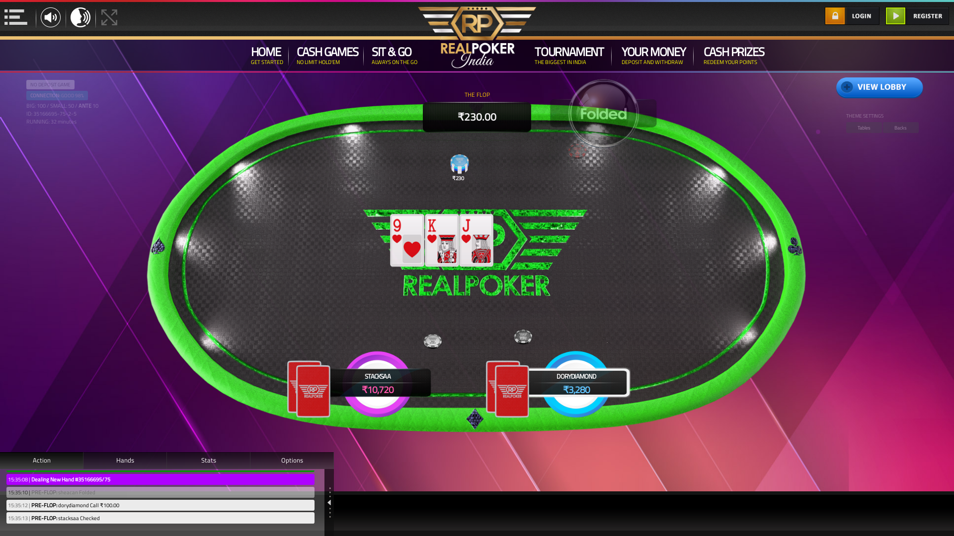 indian poker on a 10 player table in the 32nd minute