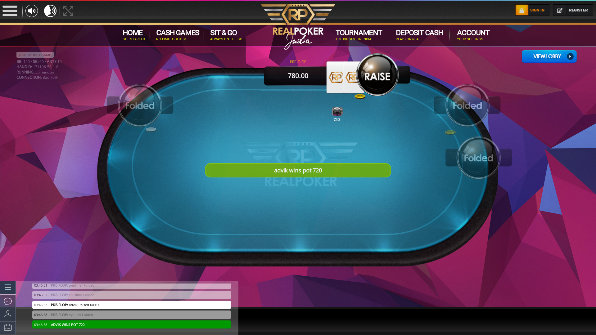 Indian poker on a 10 player table in the 35th minute