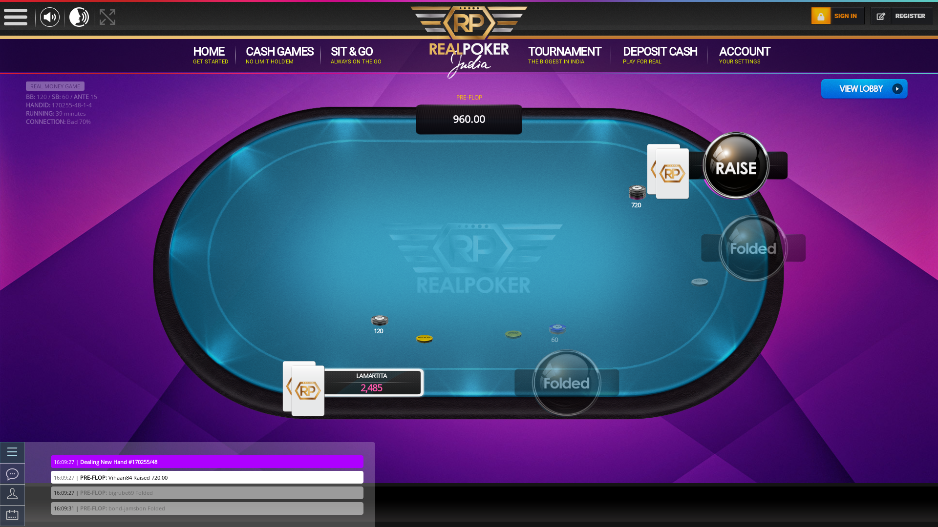 Indian poker on a 10 player table in the 39th minute
