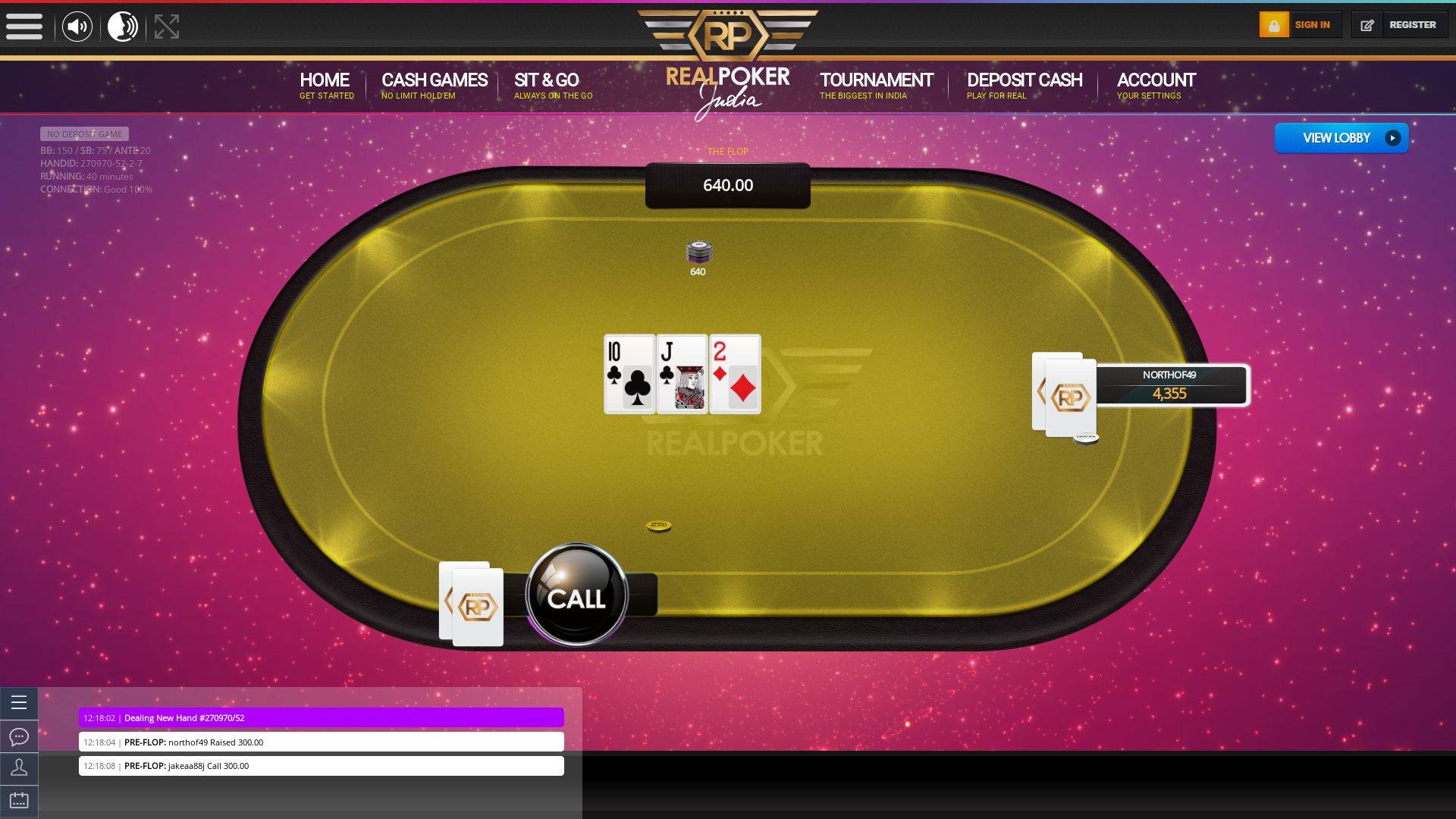Indian poker on a 10 player table in the 40th minute
