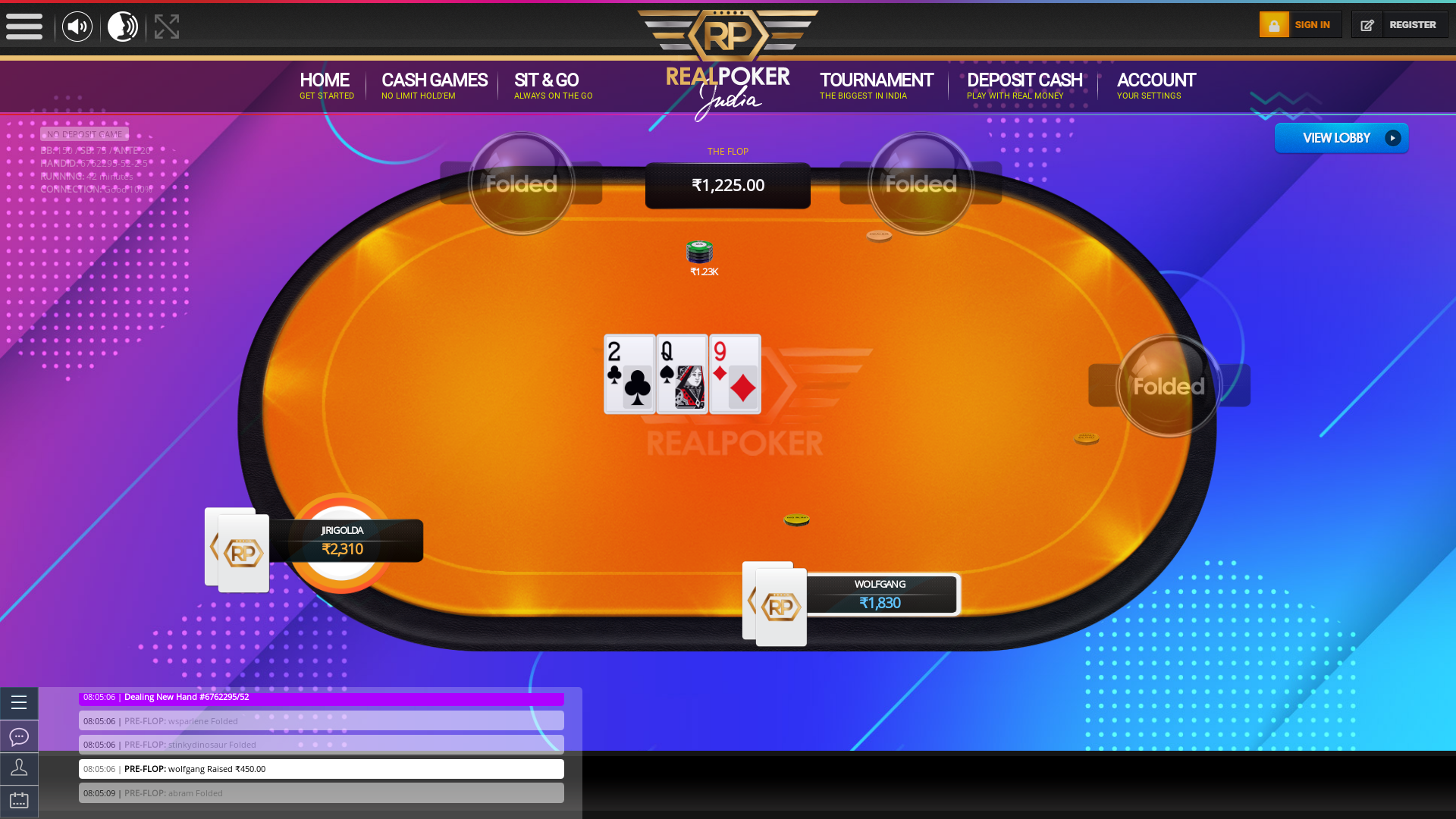 indian poker on a 10 player table in the 42nd minute
