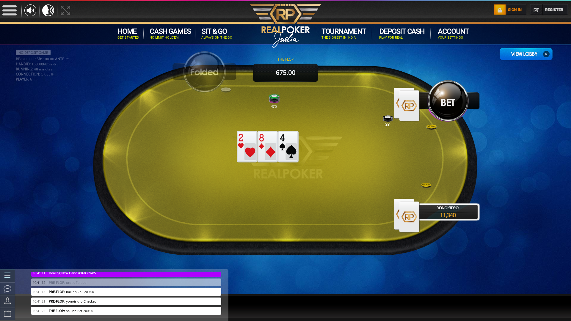 Indian poker on a 10 player table in the 48th minute