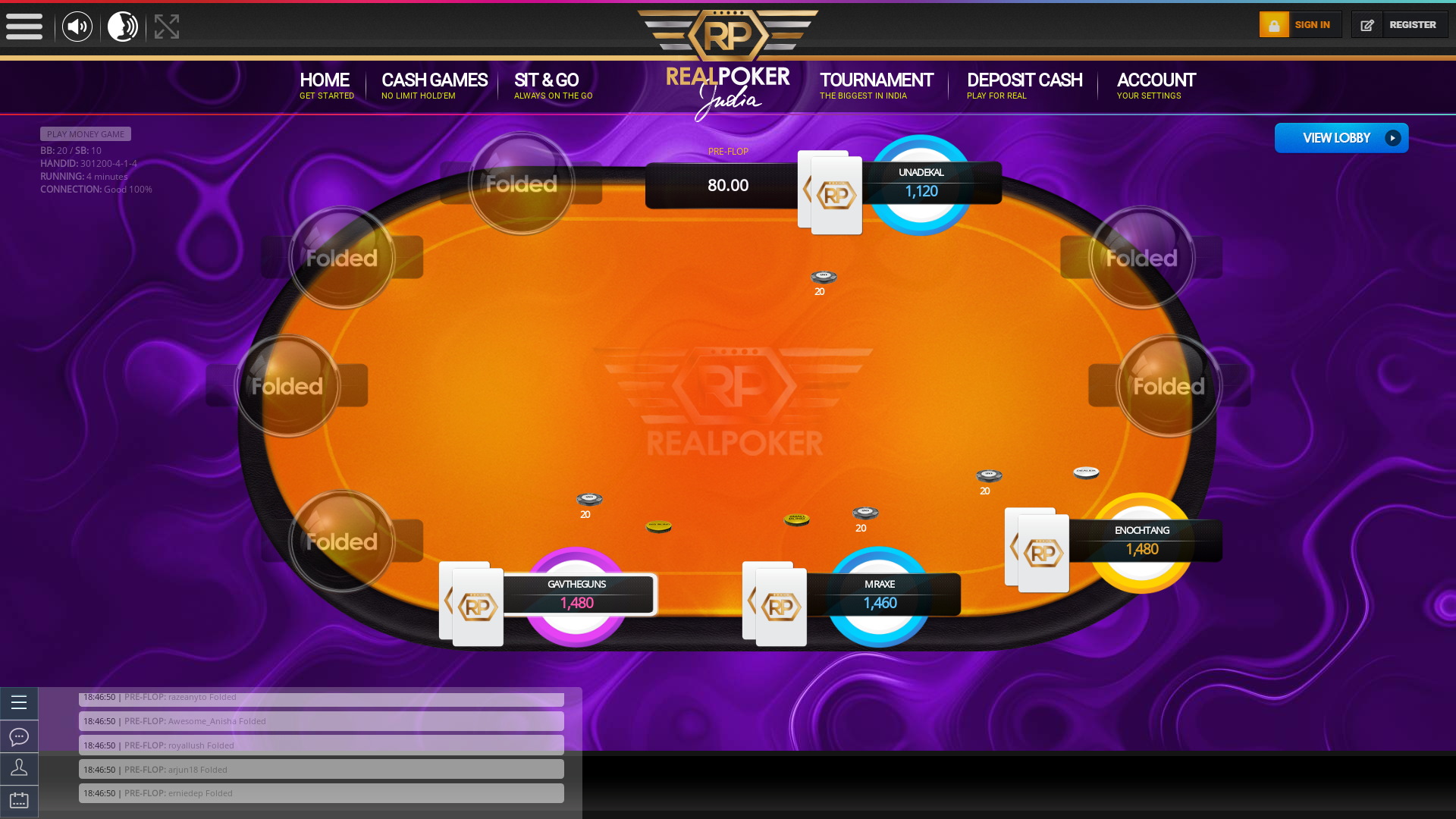 Indian poker on a 10 player table in the 4th minute