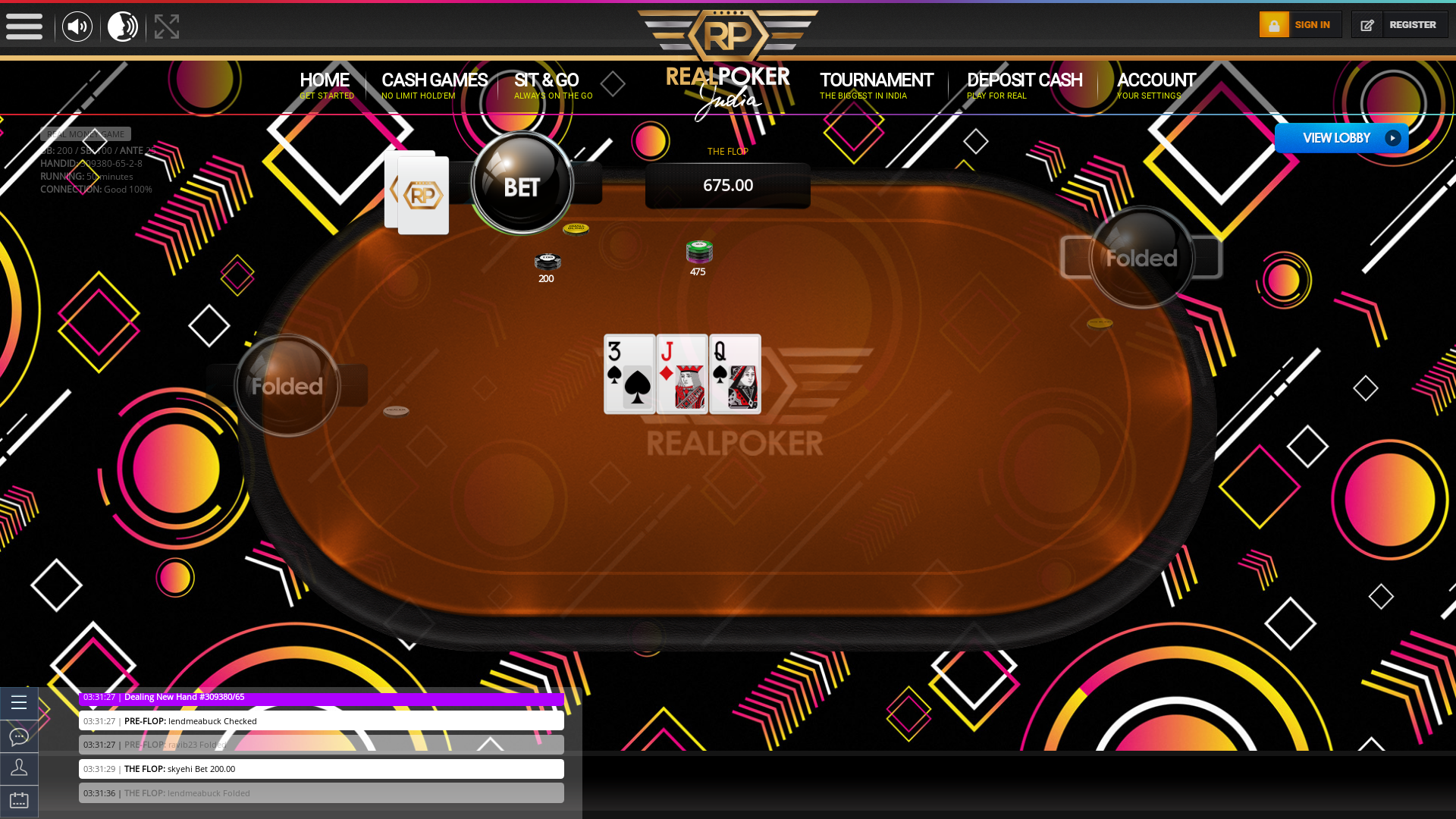 Indian poker on a 10 player table in the 50th minute