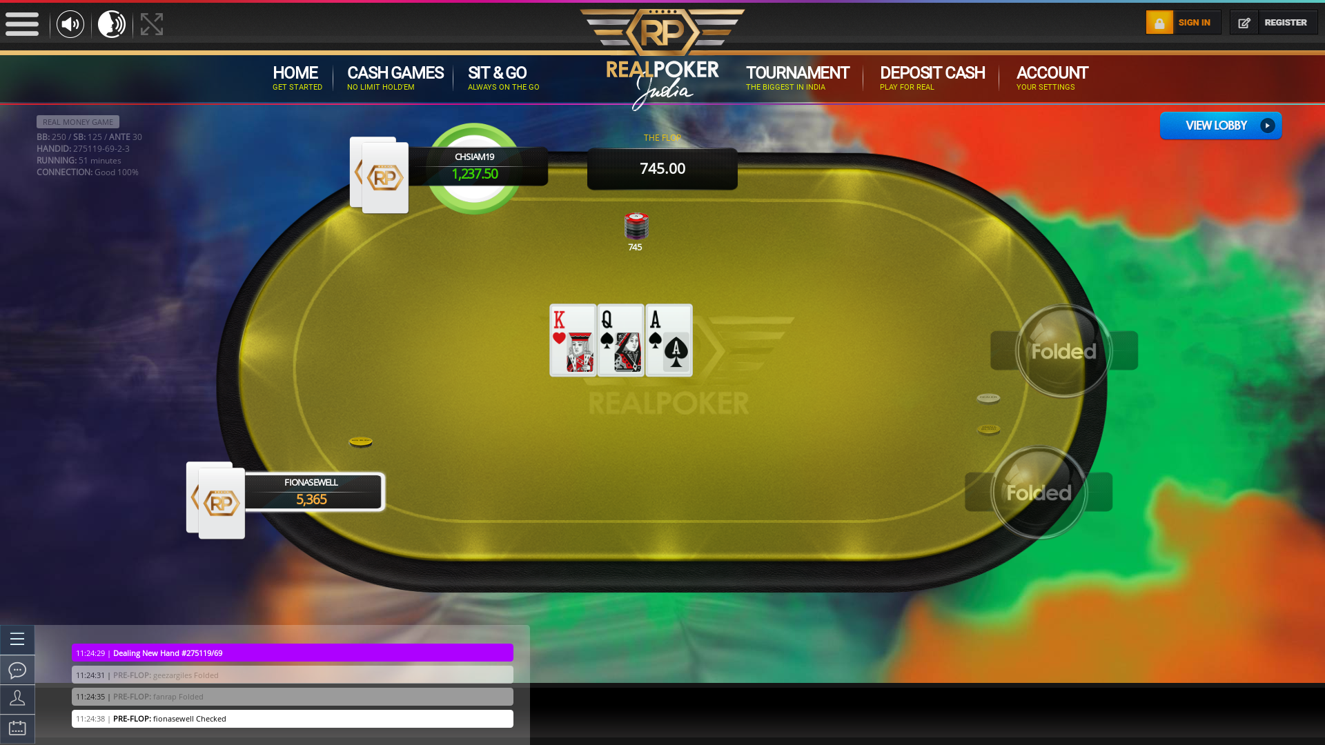 Indian poker on a 10 player table in the 51st minute