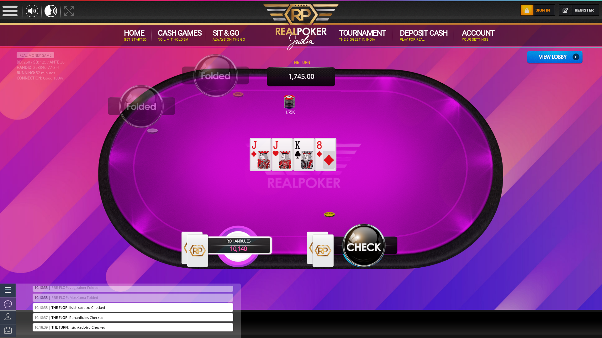 Indian poker on a 10 player table in the 52nd minute