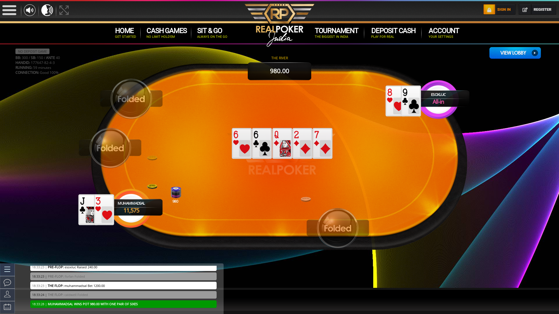 Indian poker on a 10 player table in the 58th minute
