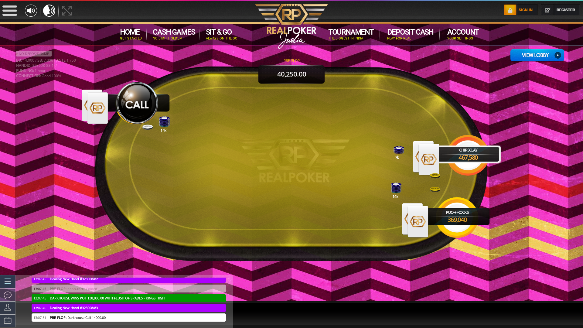 Jasola Vihar, New Delhi online poker game on a 10 player table in the 94th minute of the game
