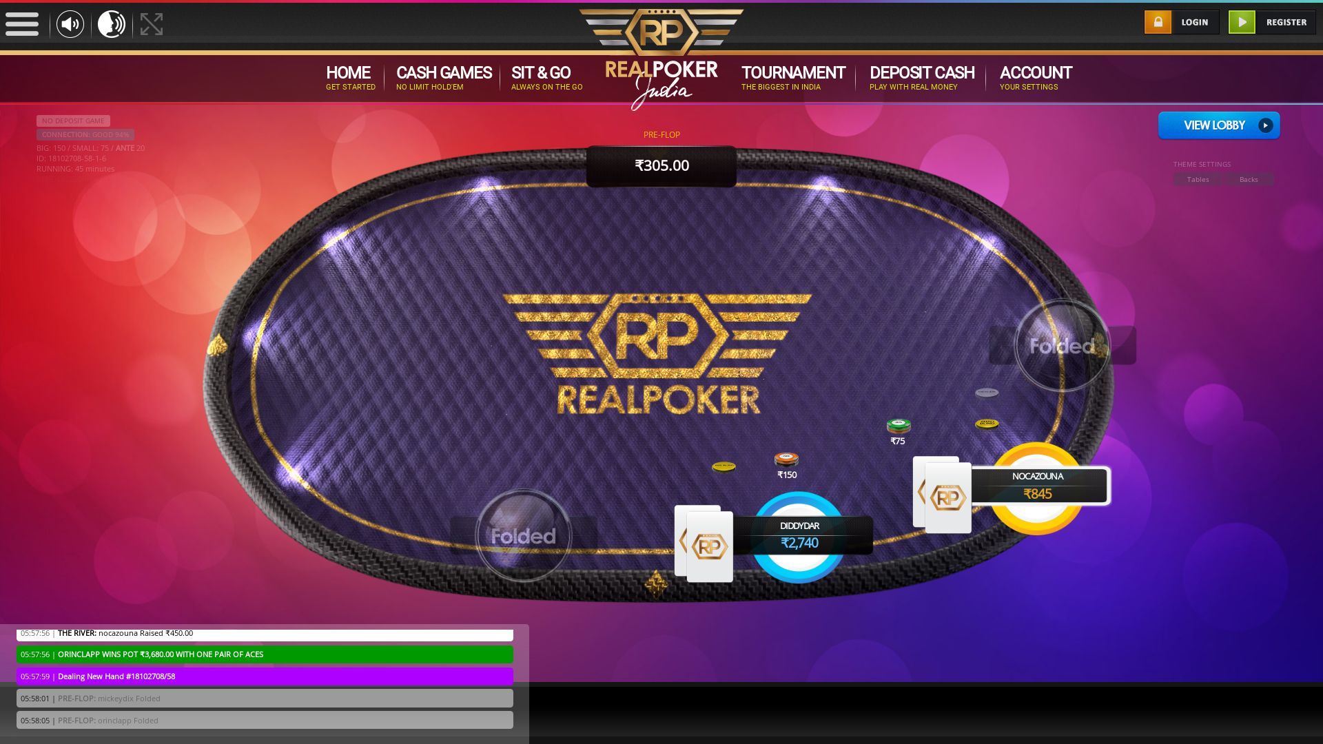 Mahim, Mumbai online poker game on a 10 player table in the 44th minute