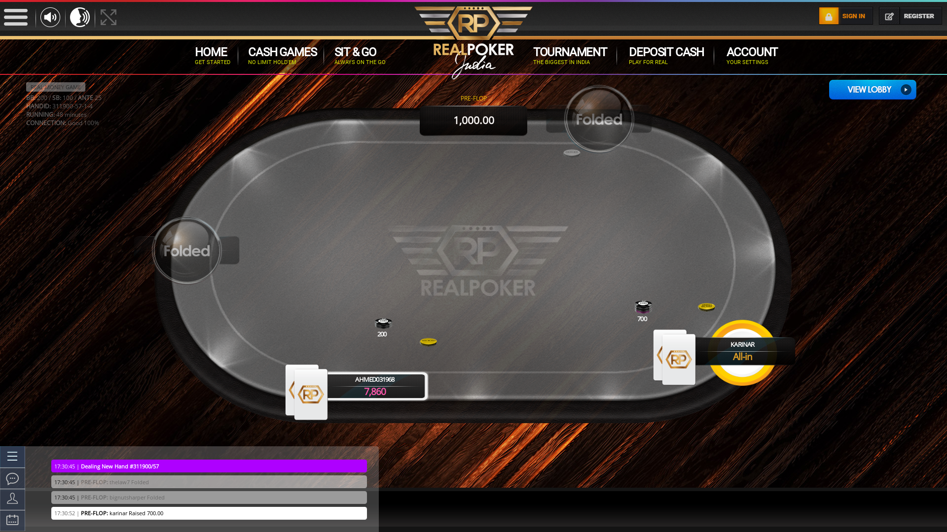 Mathikere, Bangalore online poker game on a 10 player table in the 48th minute