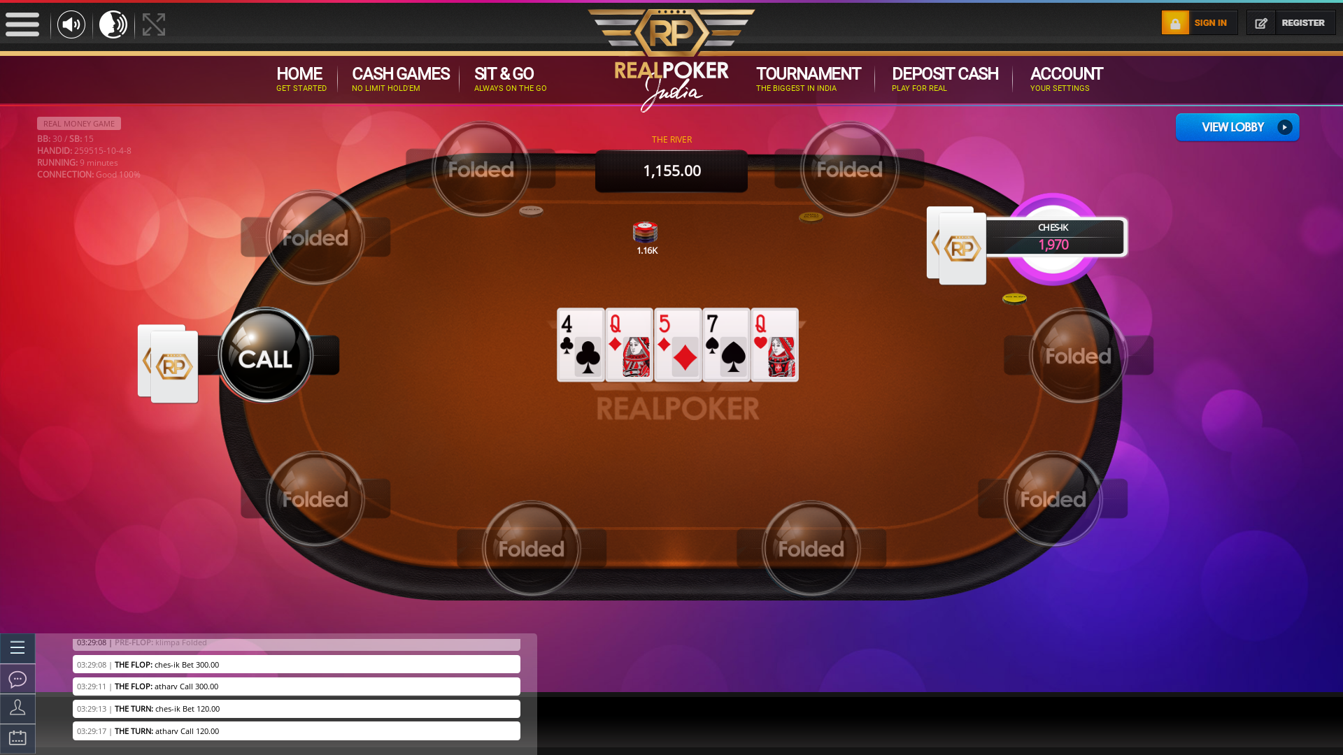 Mathikere, Bangalore texas holdem poker table on a 10 player table in the 9th minute of the match