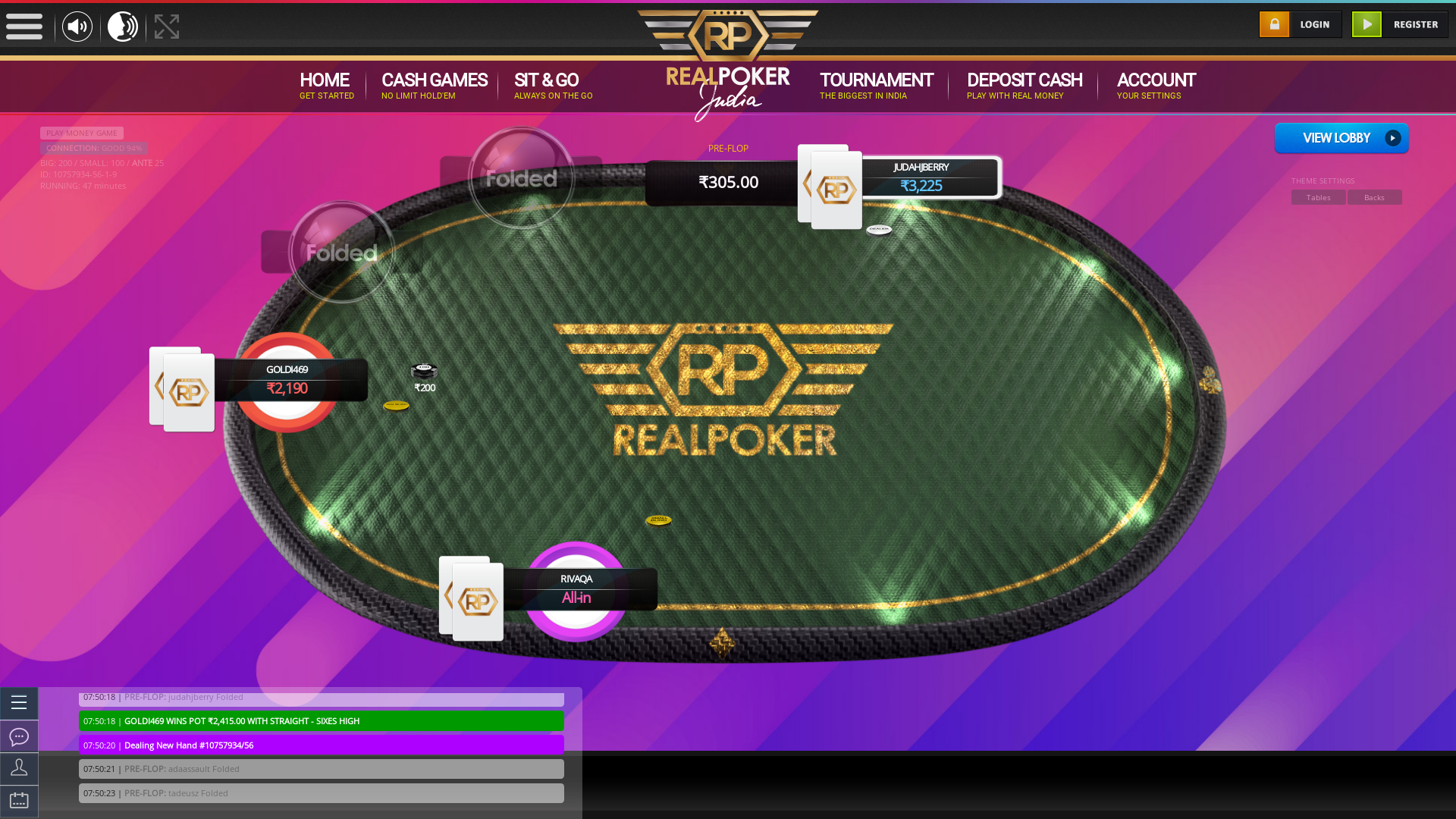 Matunga, Mumbai online poker game on a 10 player table in the 47th minute of the game