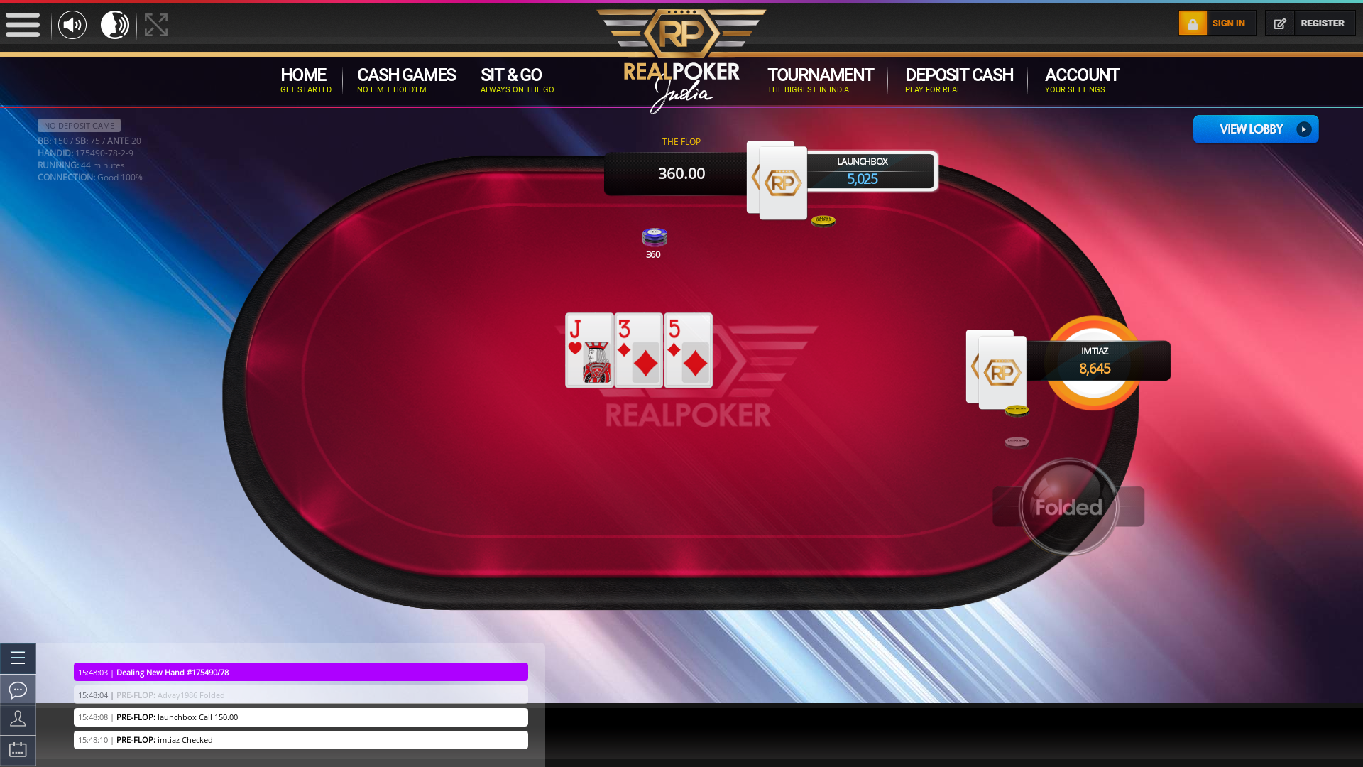 Mormugao Goa online poker game on a 10 player table in the 44th minute of the game