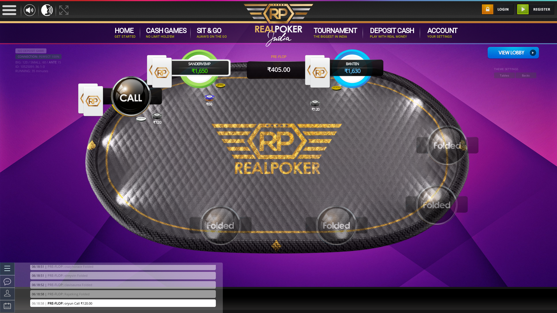 Nagarbhavi, Bangalore online poker game on a 10 player table in the 35th minute of the match