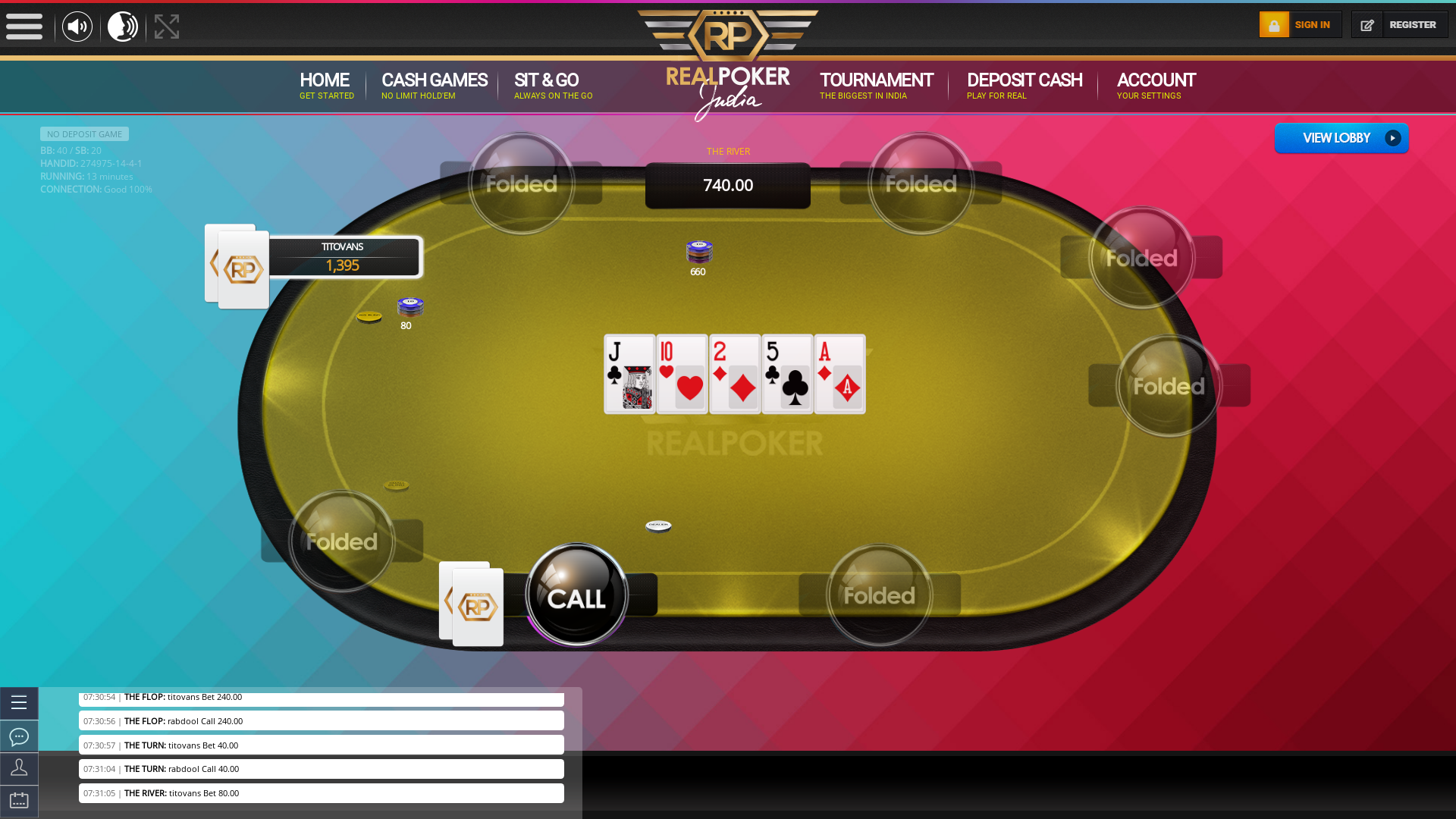 Online poker on a 10 player table in the 13th minute match up