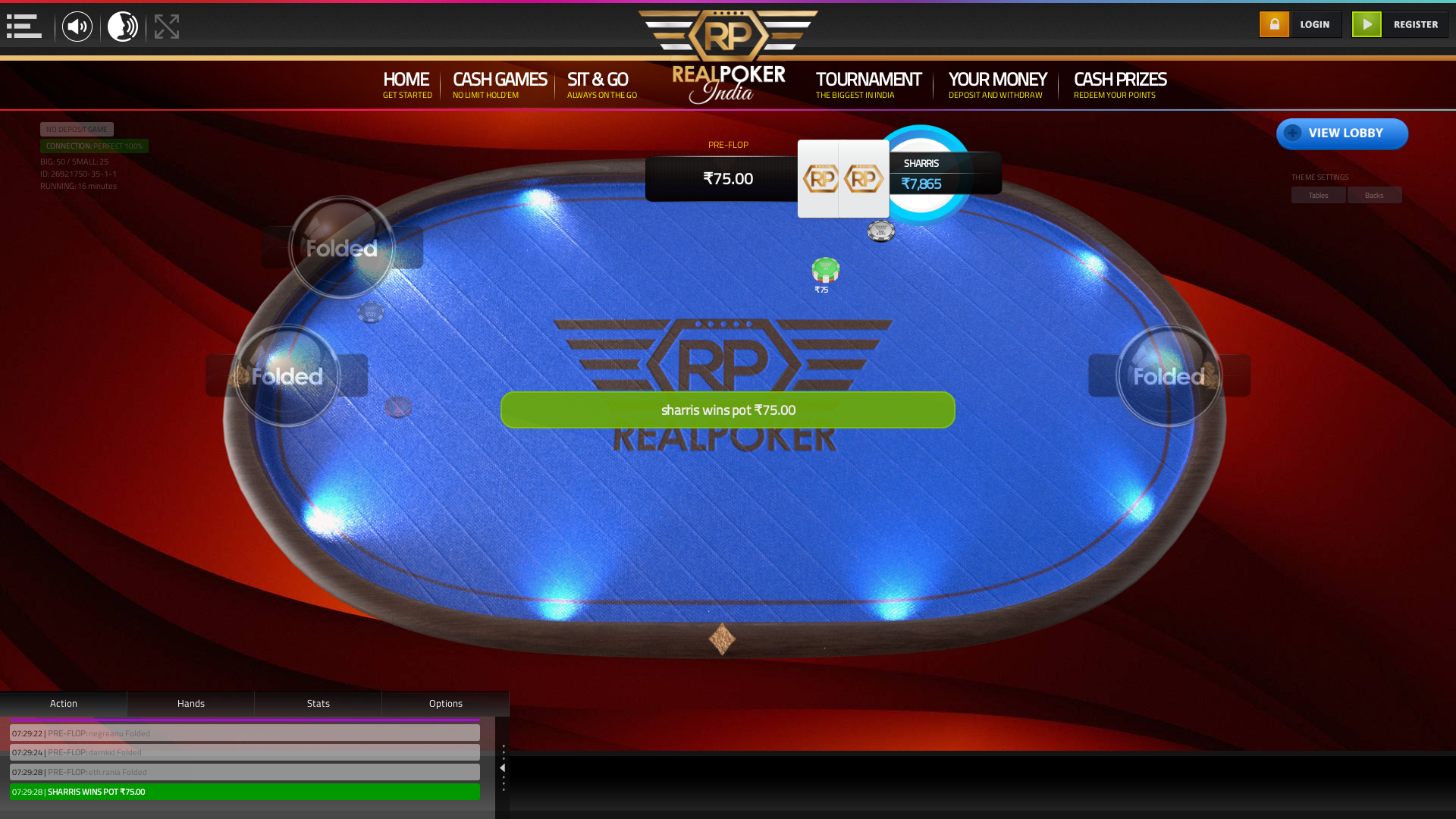 Online poker on a 10 player table in the 16th minute match up