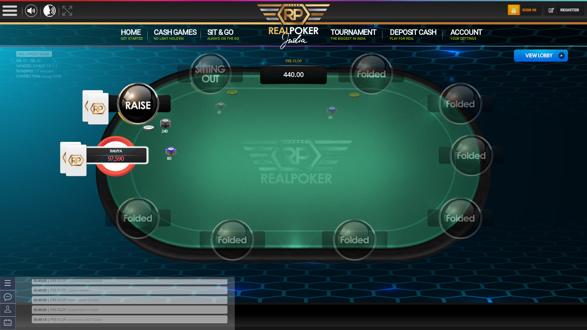 Online poker on a 10 player table in the 17th minute match up