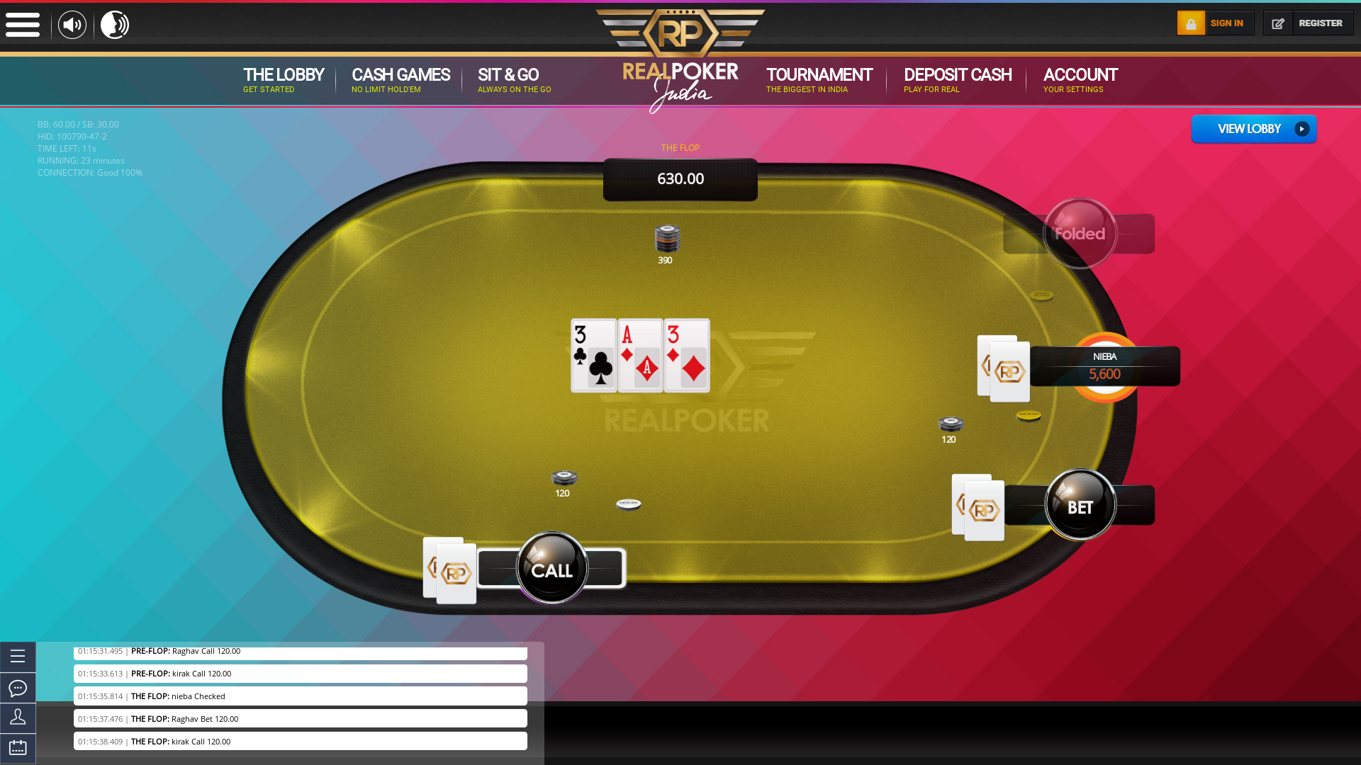 Online poker on a 10 player table in the 23rd minute match up