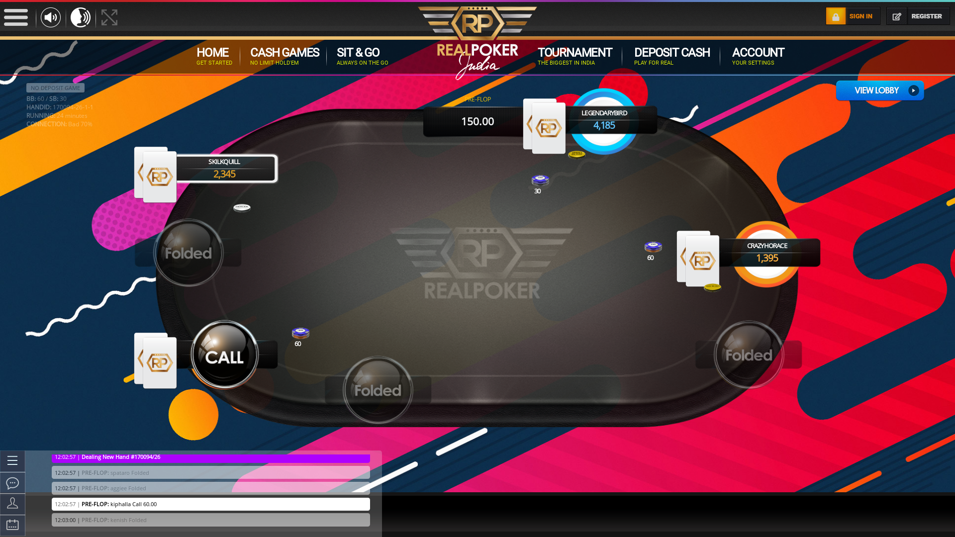 Online poker on a 10 player table in the 24th minute match up