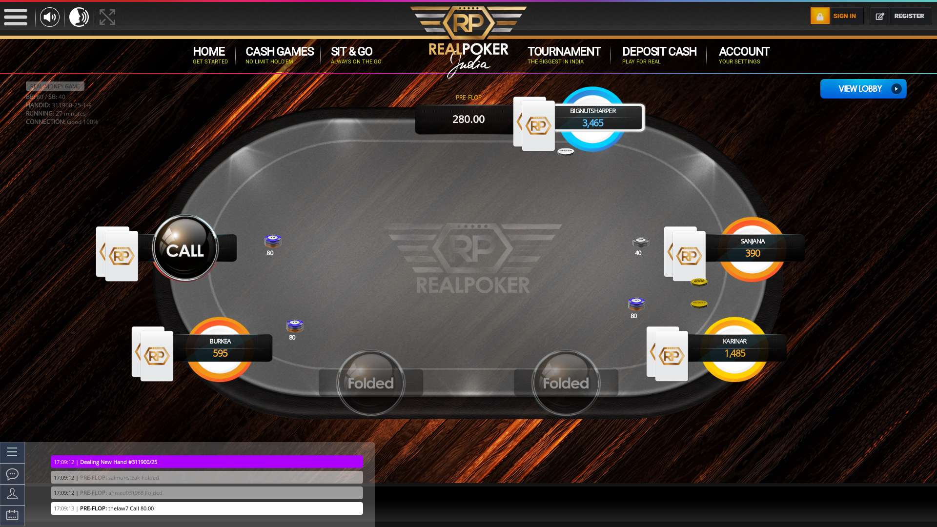Online poker on a 10 player table in the 26th minute match up