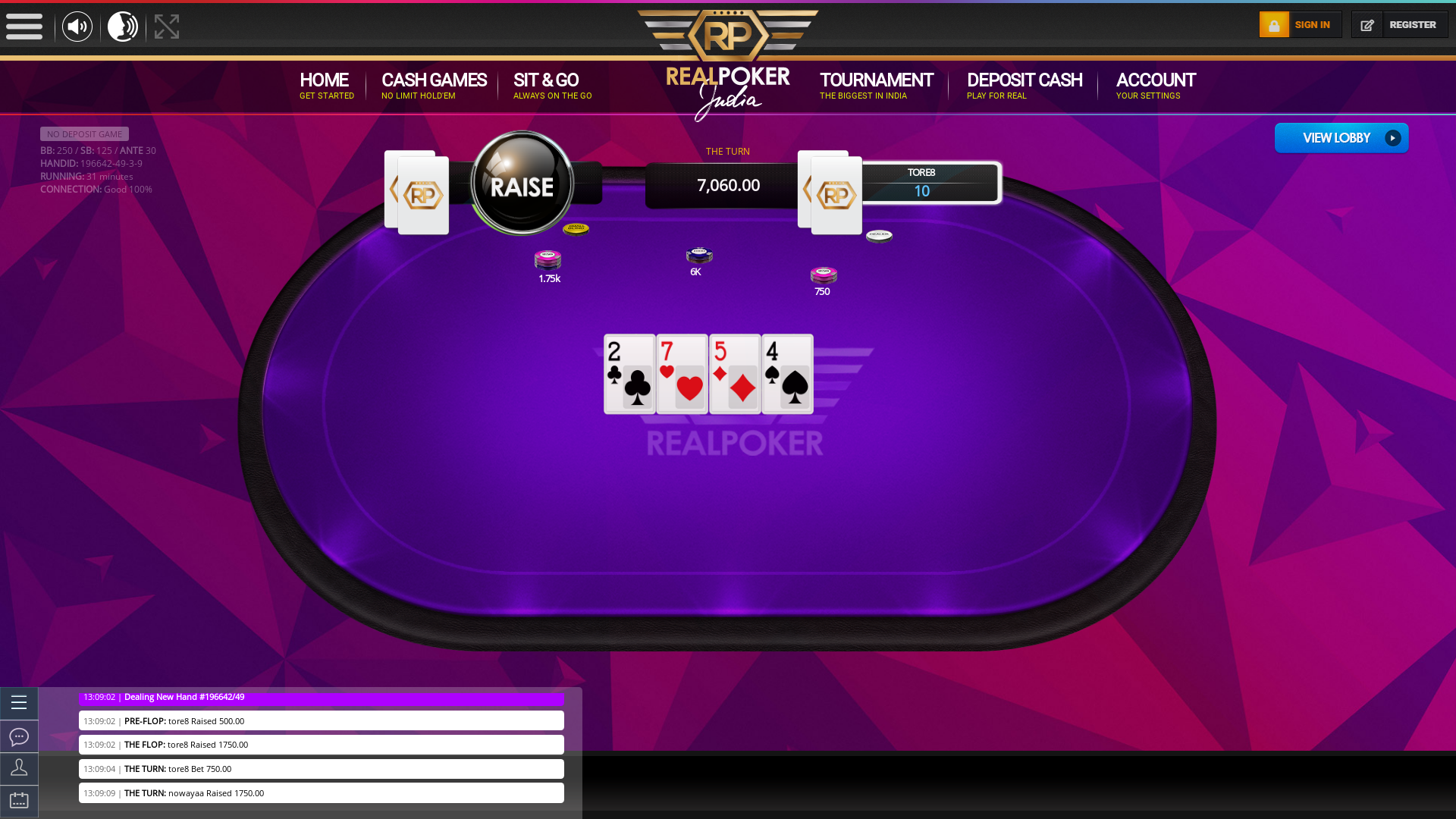 Online poker on a 10 player table in the 30th minute match up