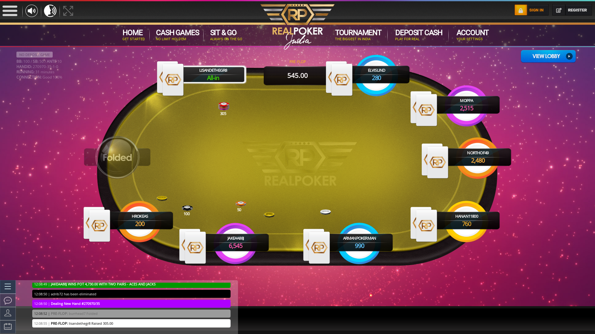 Online poker on a 10 player table in the 31st minute match up