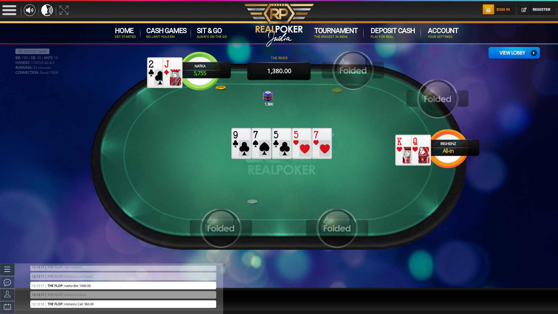 Online poker on a 10 player table in the 33rd minute match up