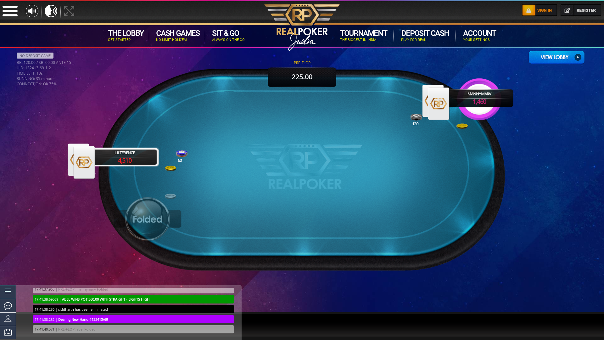Online poker on a 10 player table in the 35th minute match up