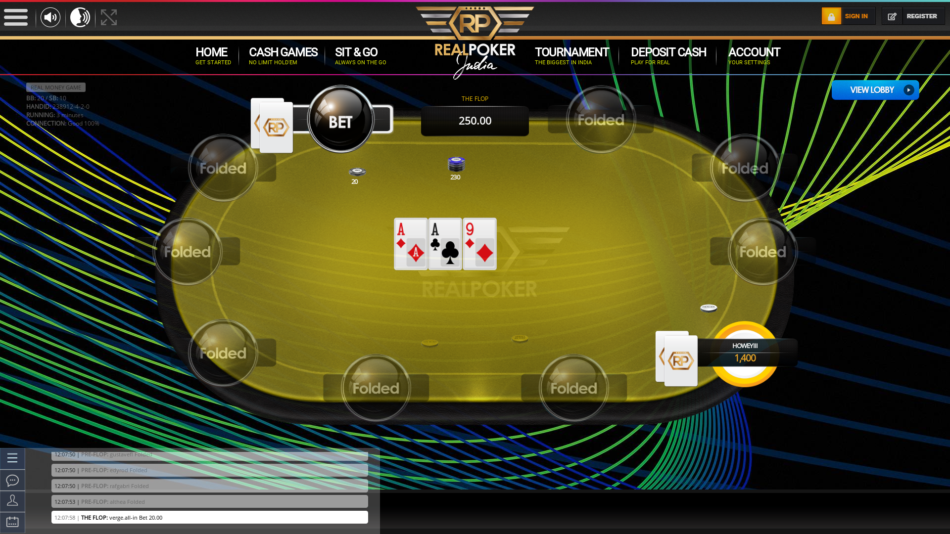Online poker on a 10 player table in the 3rd minute match up
