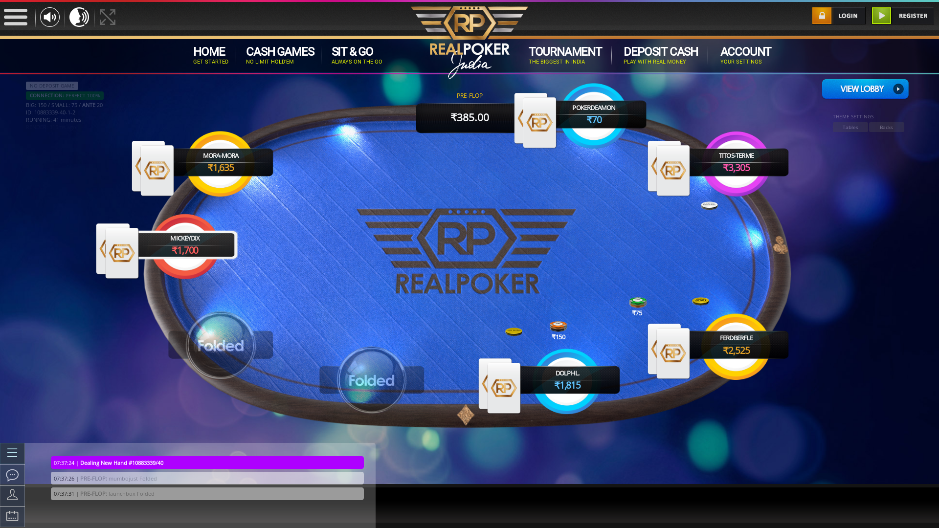 Online poker on a 10 player table in the 41st minute match up