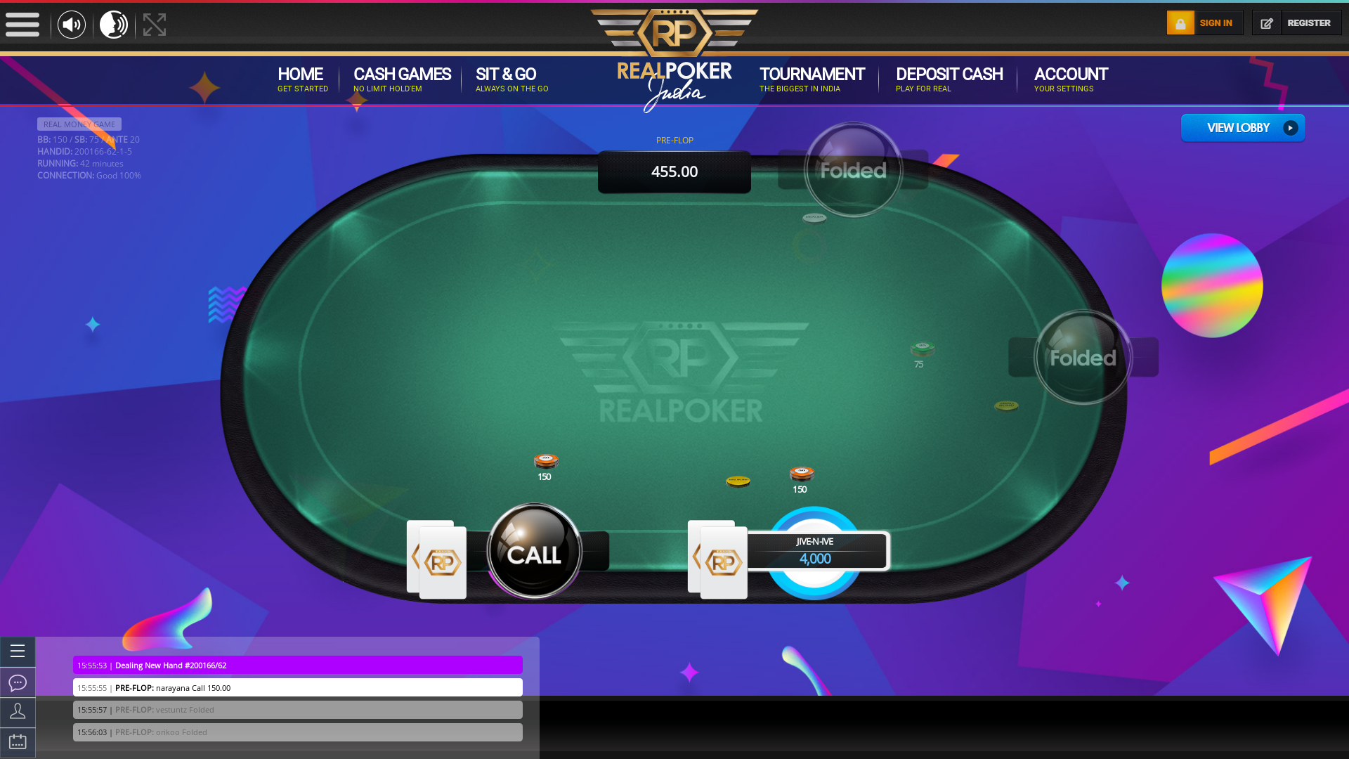Online poker on a 10 player table in the 42nd minute match up